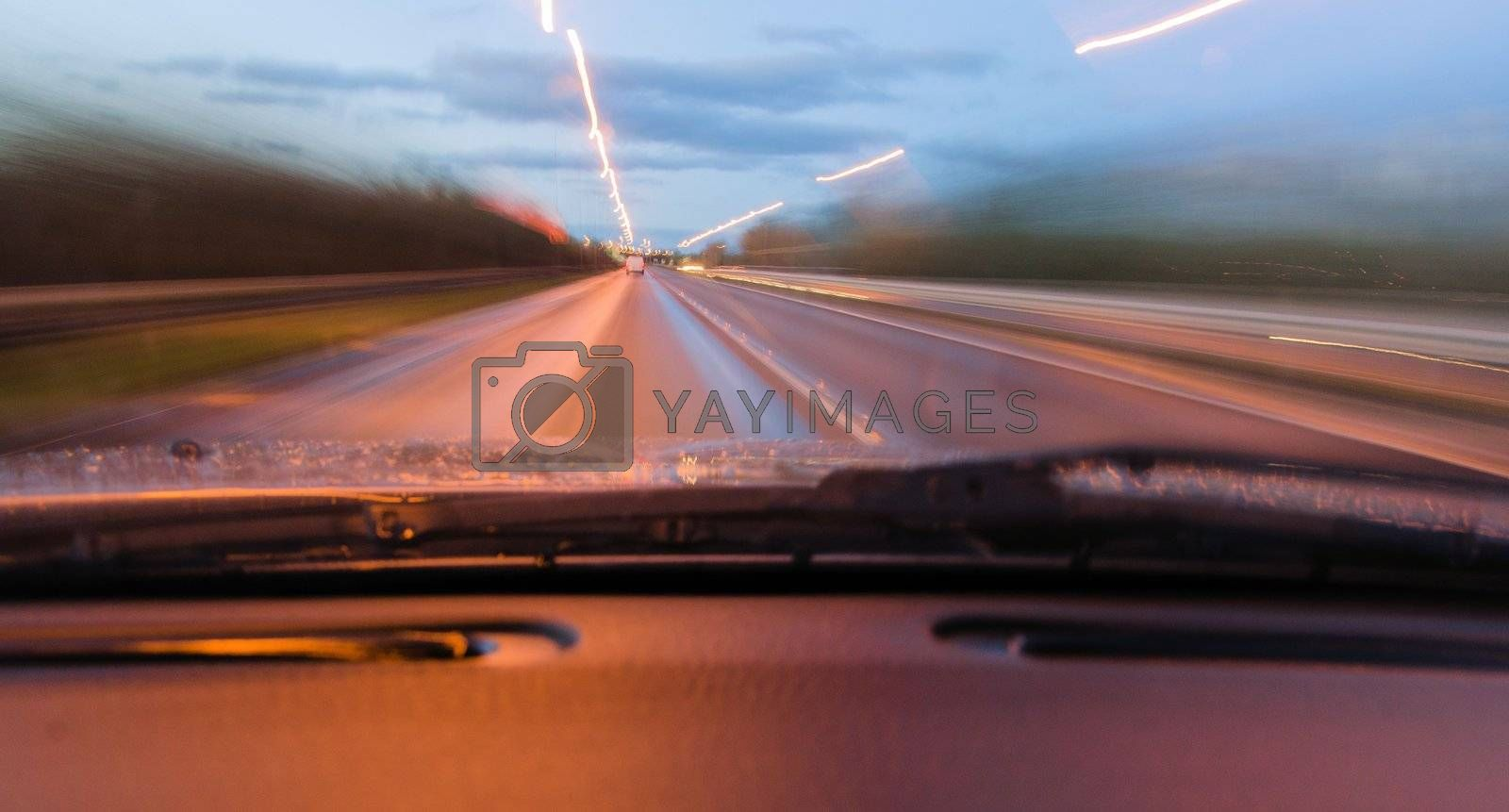 View through a car windscreen