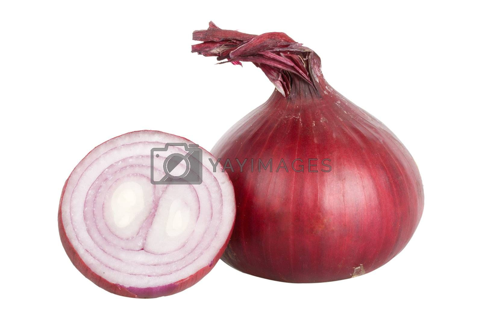 red onion full and peace, isolated on white
