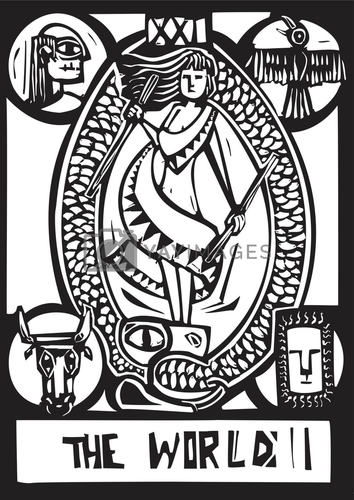 Woodcut expressionist style image of the Tarot Card for the World