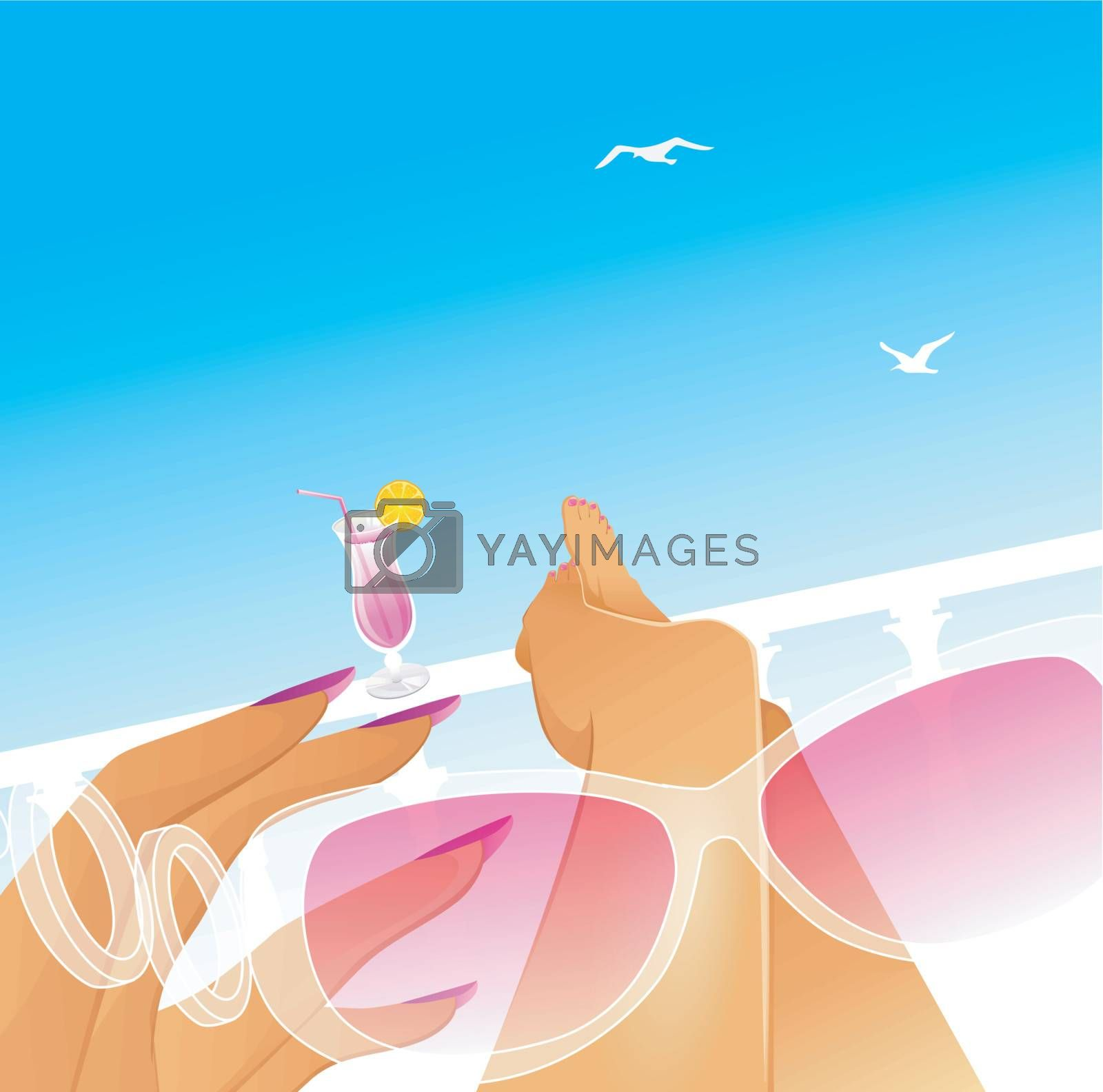 Vector illustration of Summer rest