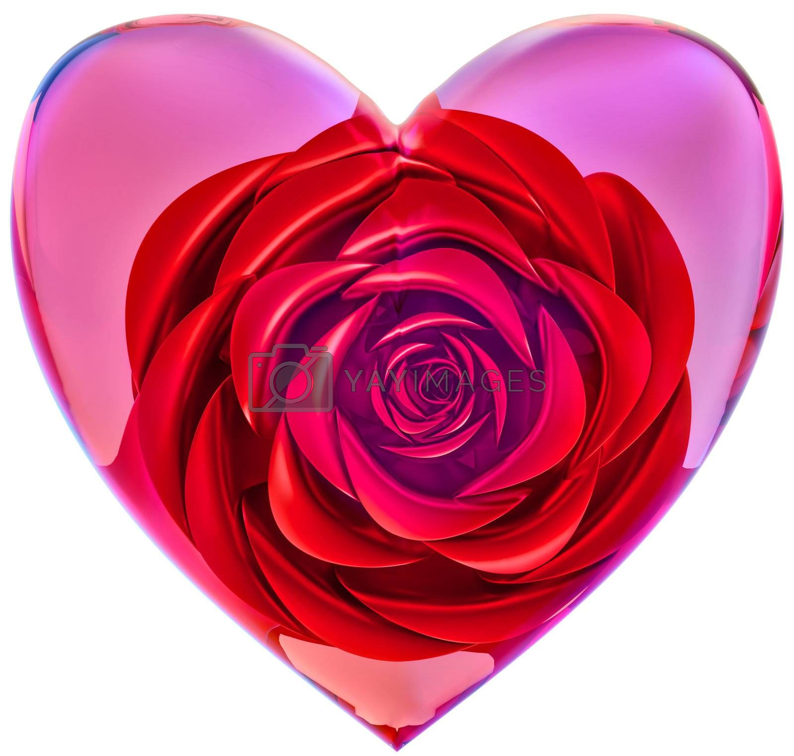beautiful red rose in glass heart as decoration for celebration of Valentine's Day