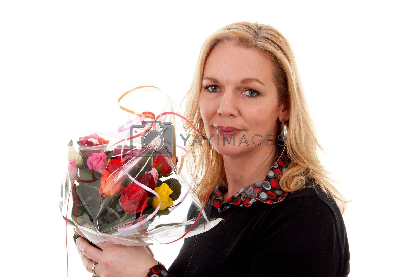 woman with bouquet of colorful roses isolated on white background