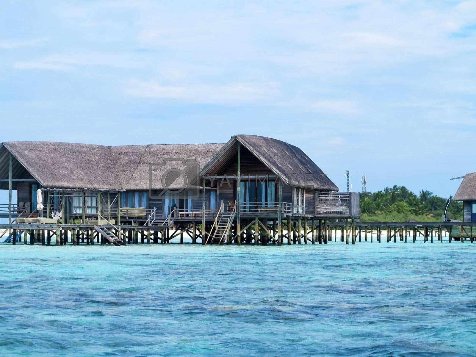 Isolation of a cottage facing towards sea on beautiful maldive island.
