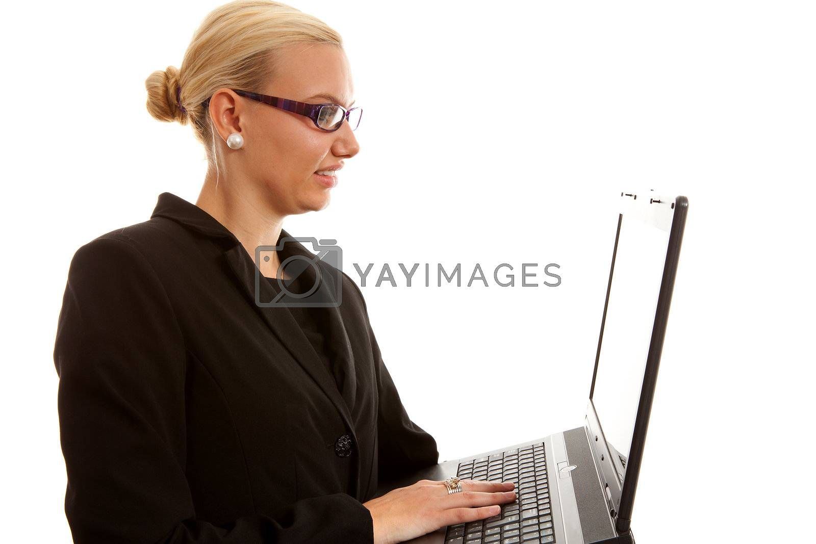 busy blonde businesswoman with laptop over white background