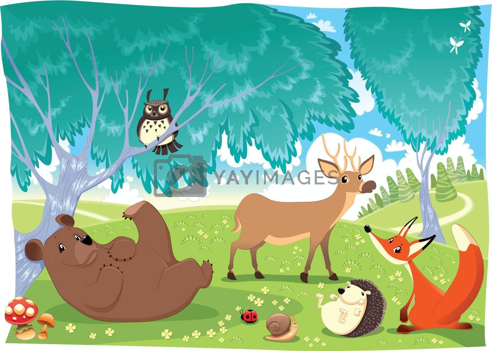 Animals in the wood. Funny cartoon and vector illustration