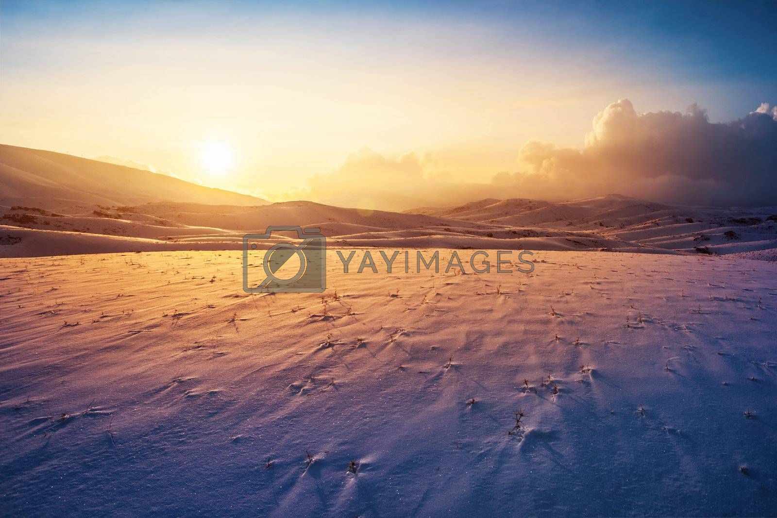Photo of a sunset at winter snowy mountains, peaceful stunning landscape, amazing seasonal nature, cold weather in the park, beautiful sunny snow field, wintertime scene, icy lands