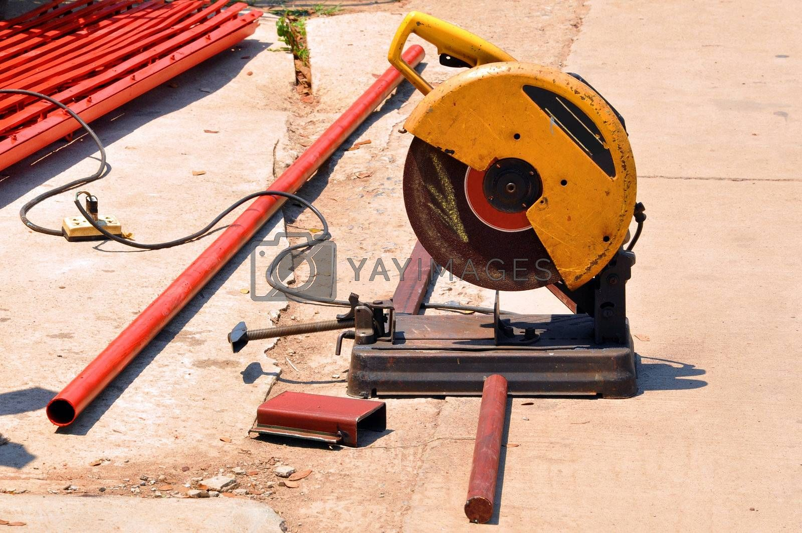 An abrasive saw, also known as a cut-off saw or metal chop saw, is a power tool which is typically used to cut hard materials, such as metals.