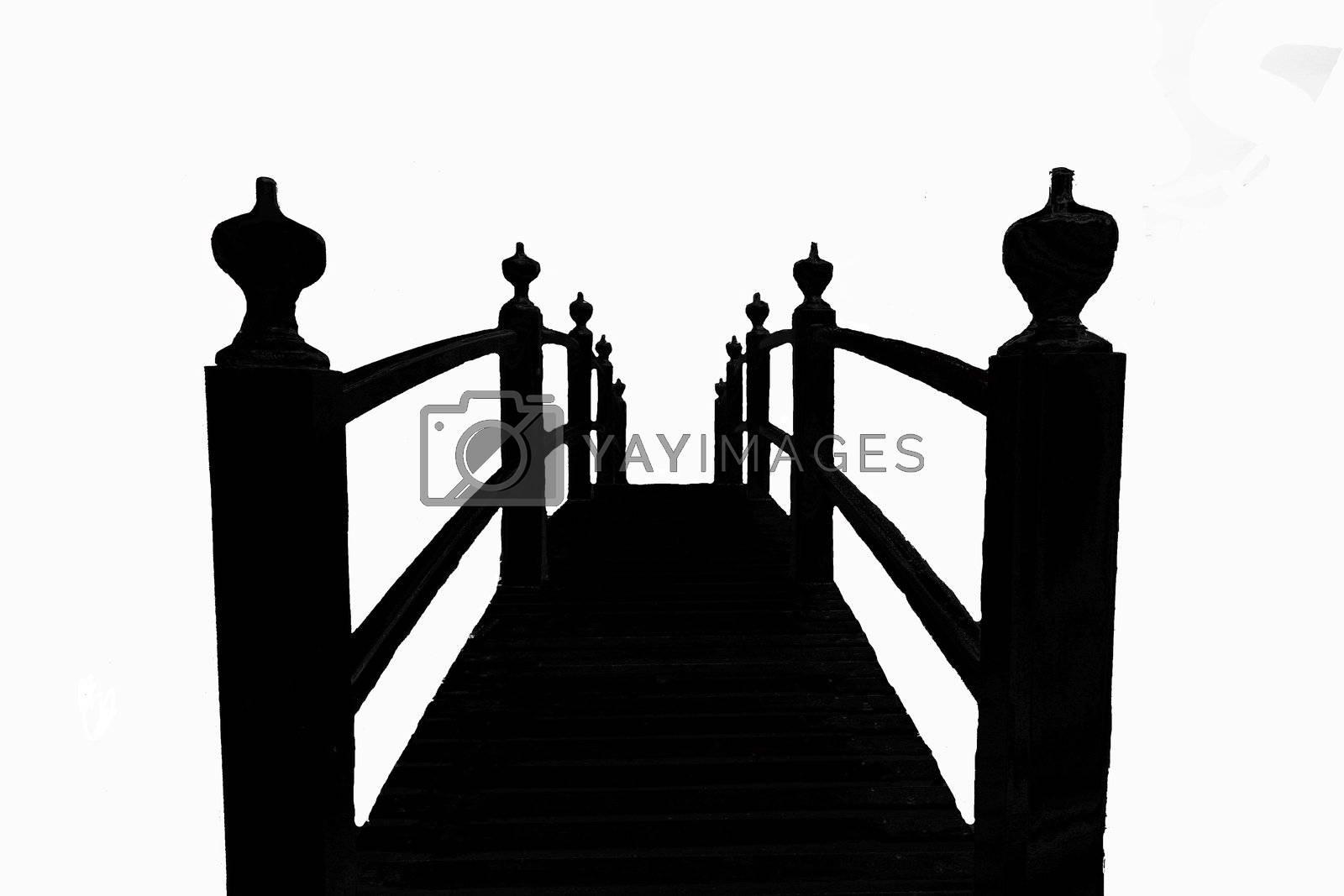 Silhouette of walkway bridge in chinese garden