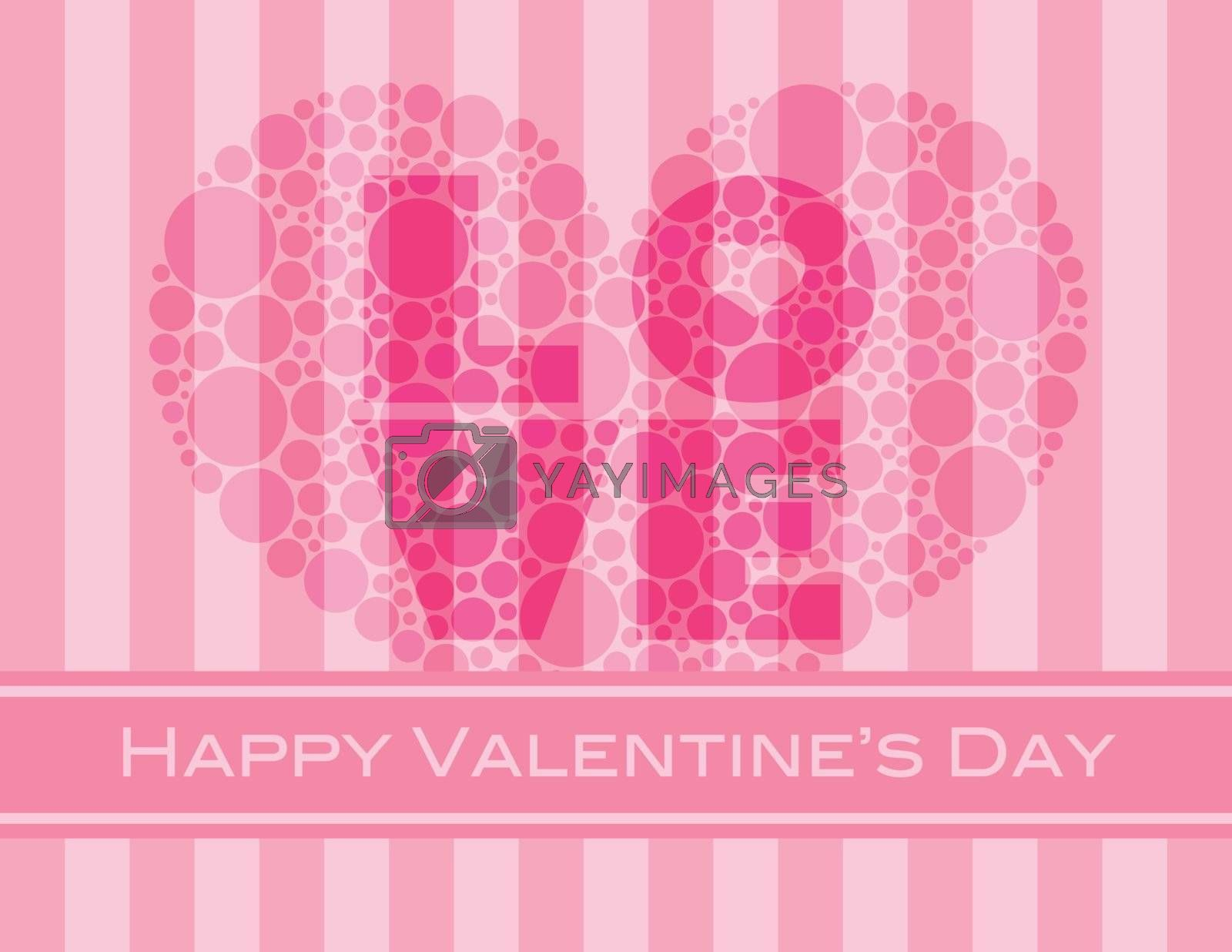 Happy Valentines Day with Love and Heart Shape Polka Dots on Pink Stripes Pattern Background Illustration