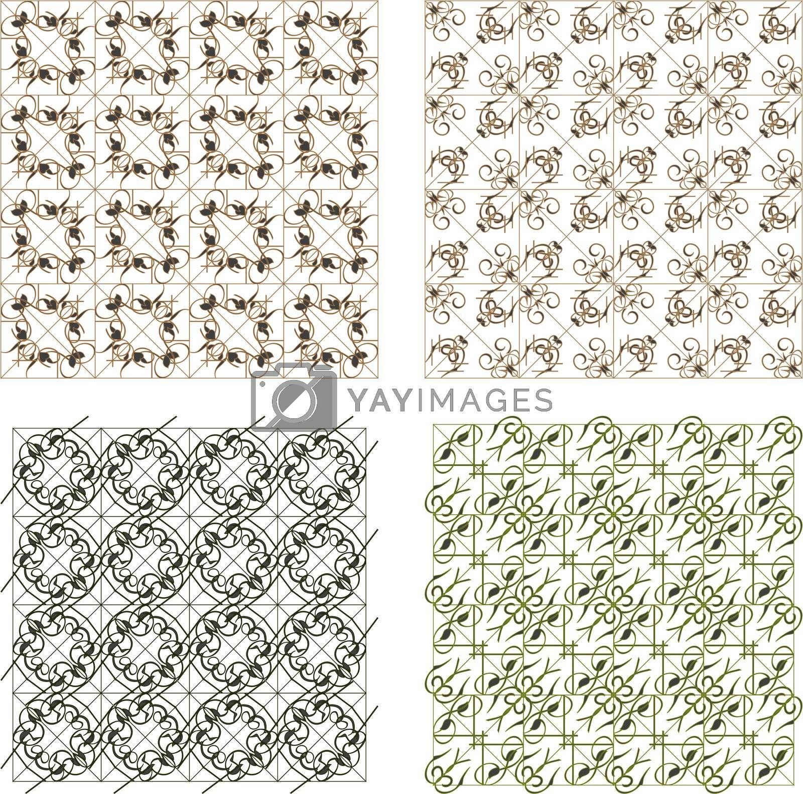 Seamless wallpaper pattern, set of four colors