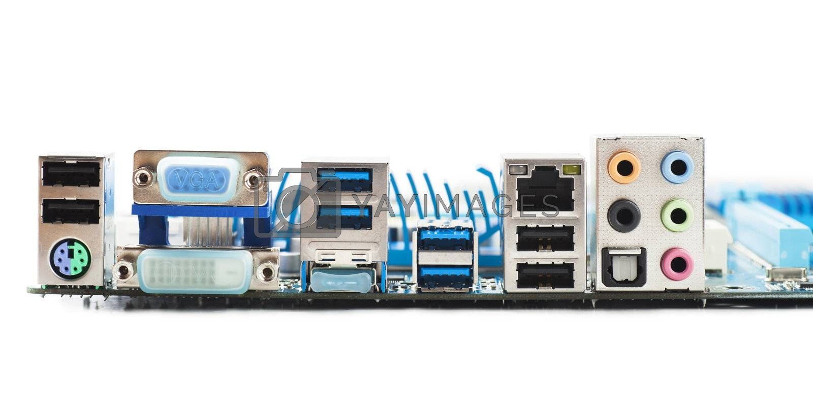 Ports on motherboard isolated over white background
