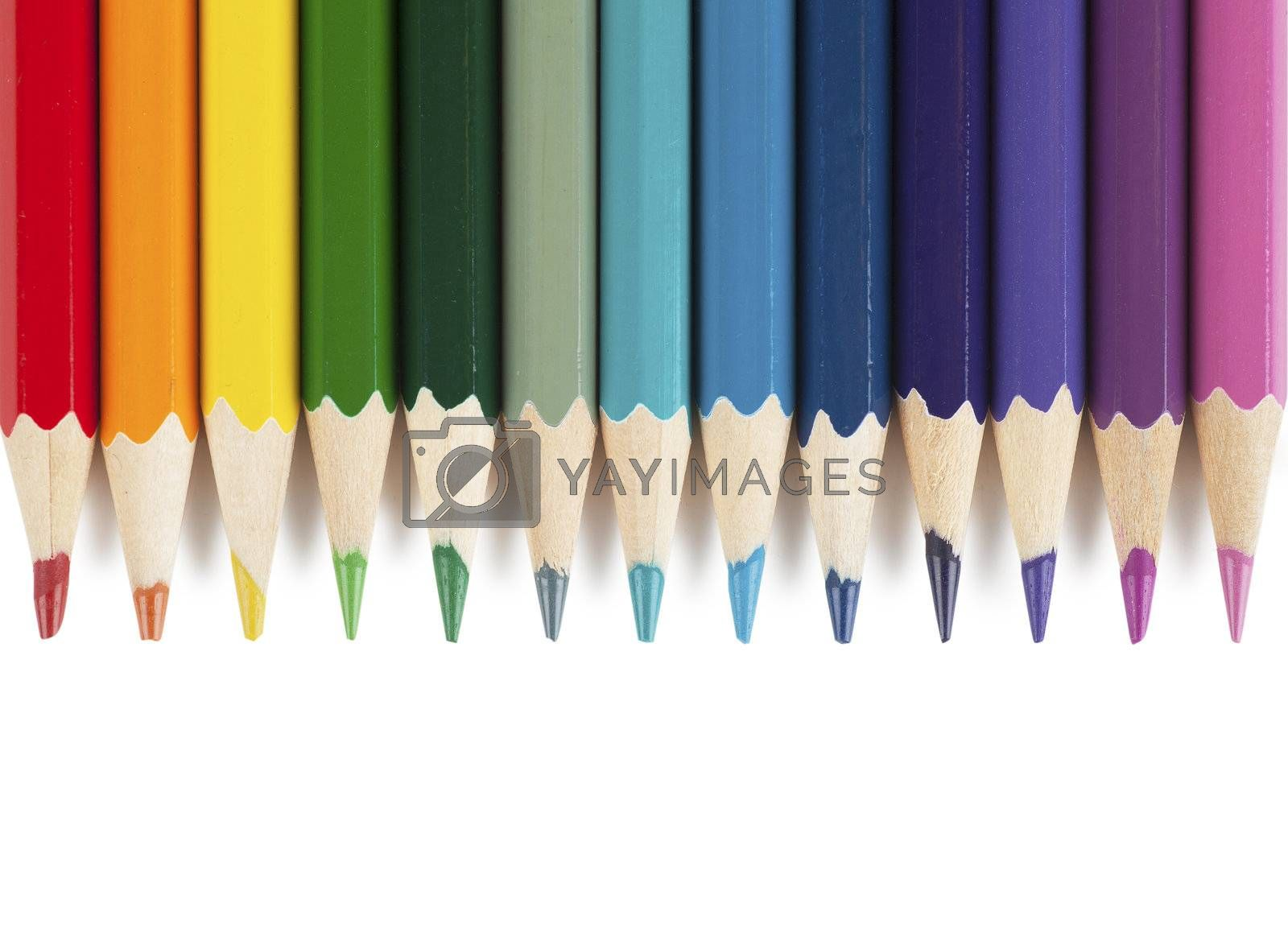 Colorful pencils isolated over white background