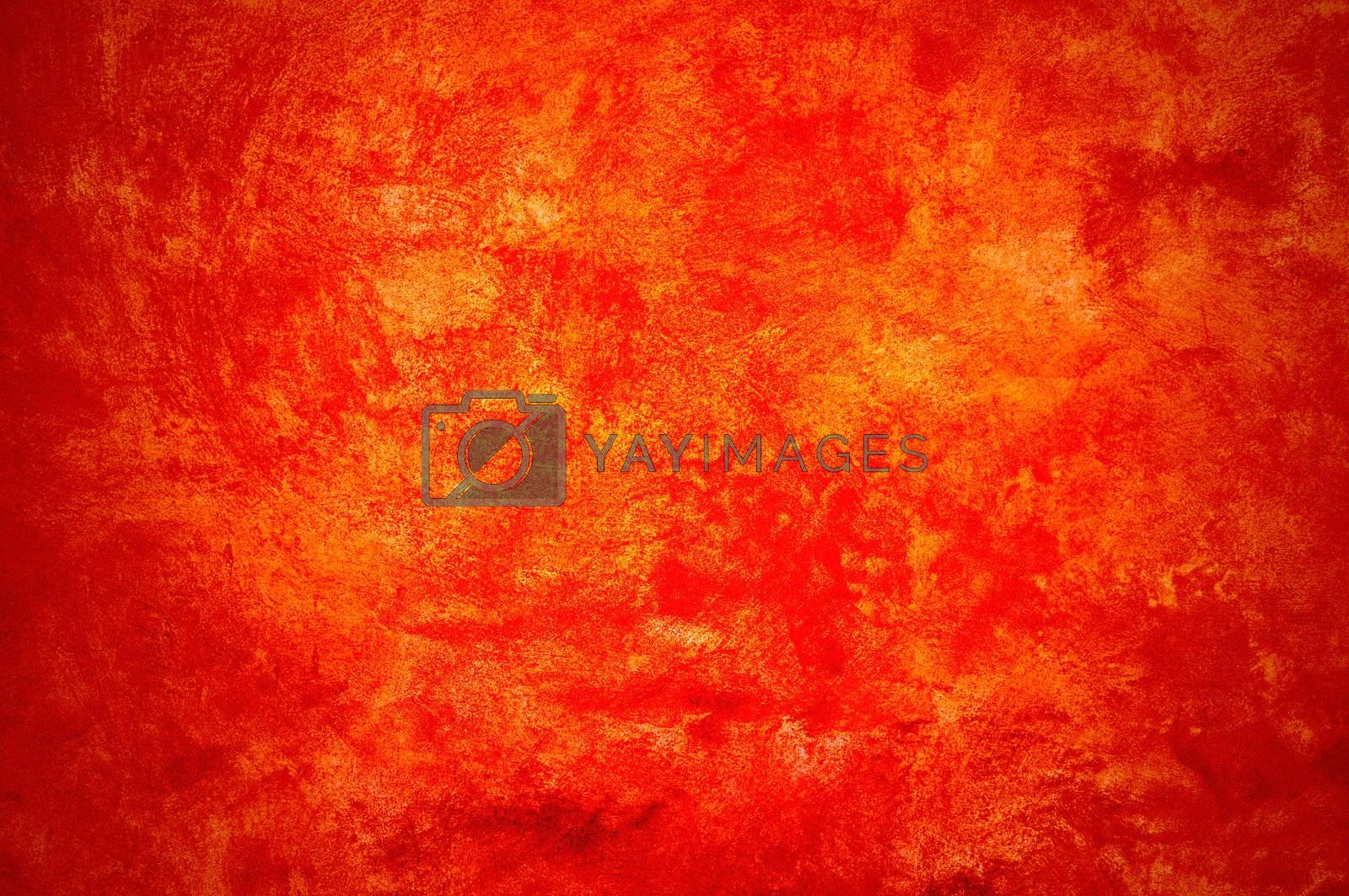 Orange wall with brush strokes.