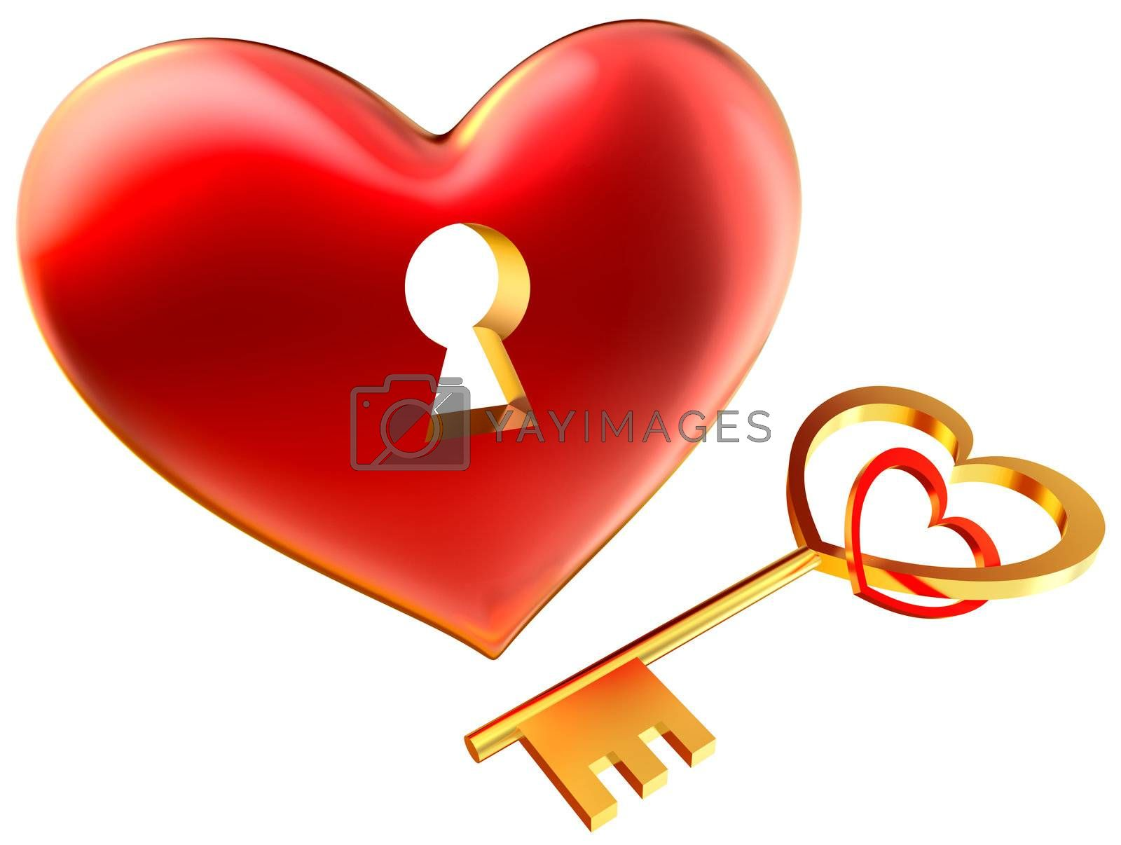 metalic red heart with keyhole as symbol of love for wedding and Valentine's Day design