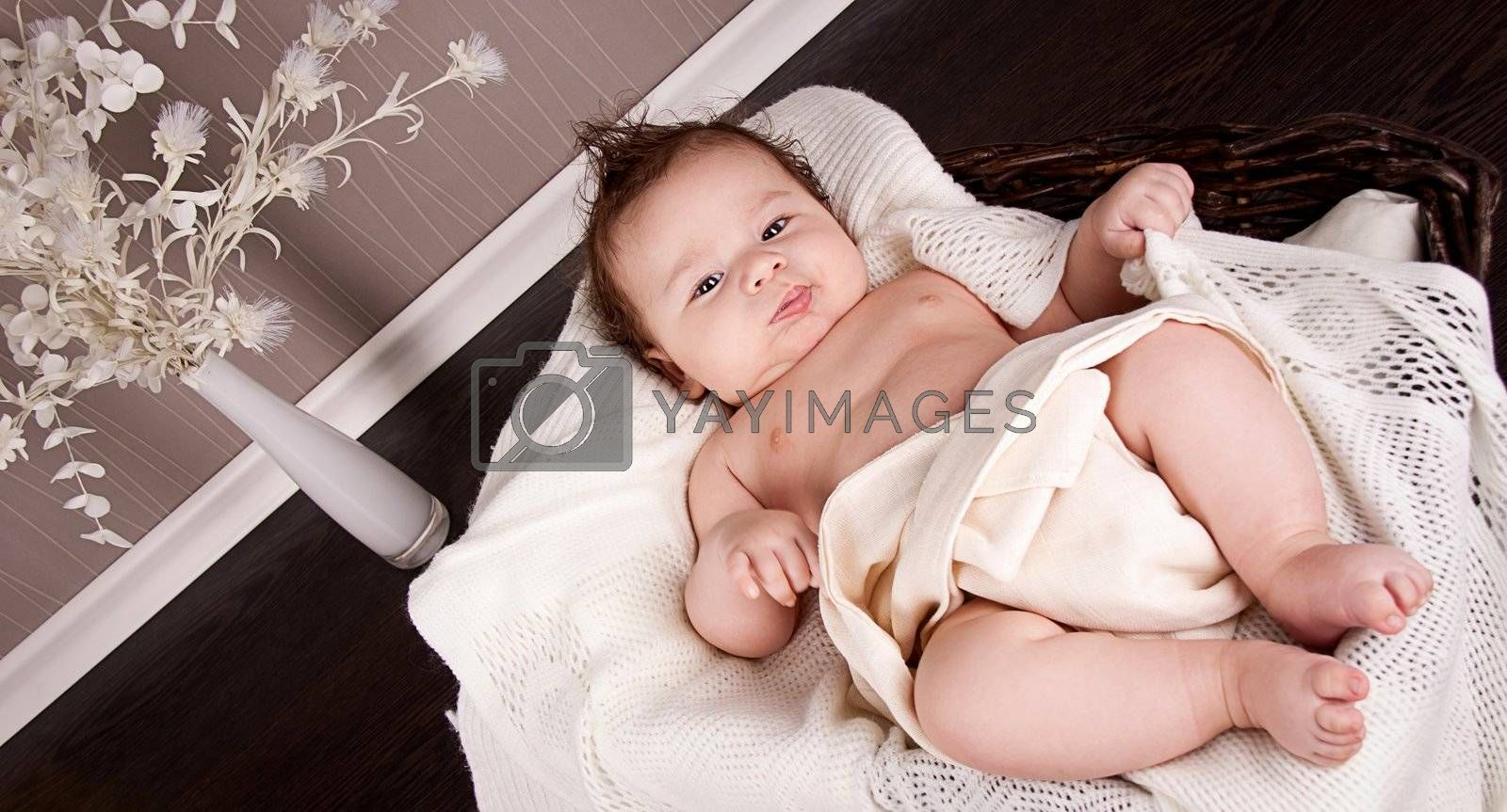 sweet little baby infant toddler on white  blanket in basket at home