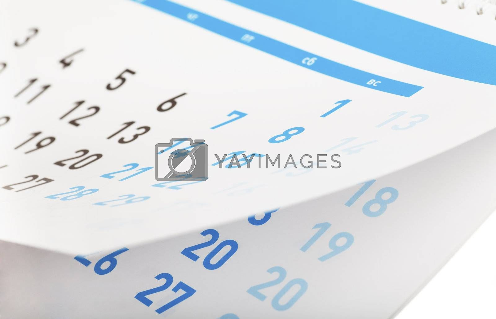 Closeup view of pages of tear-off calendar