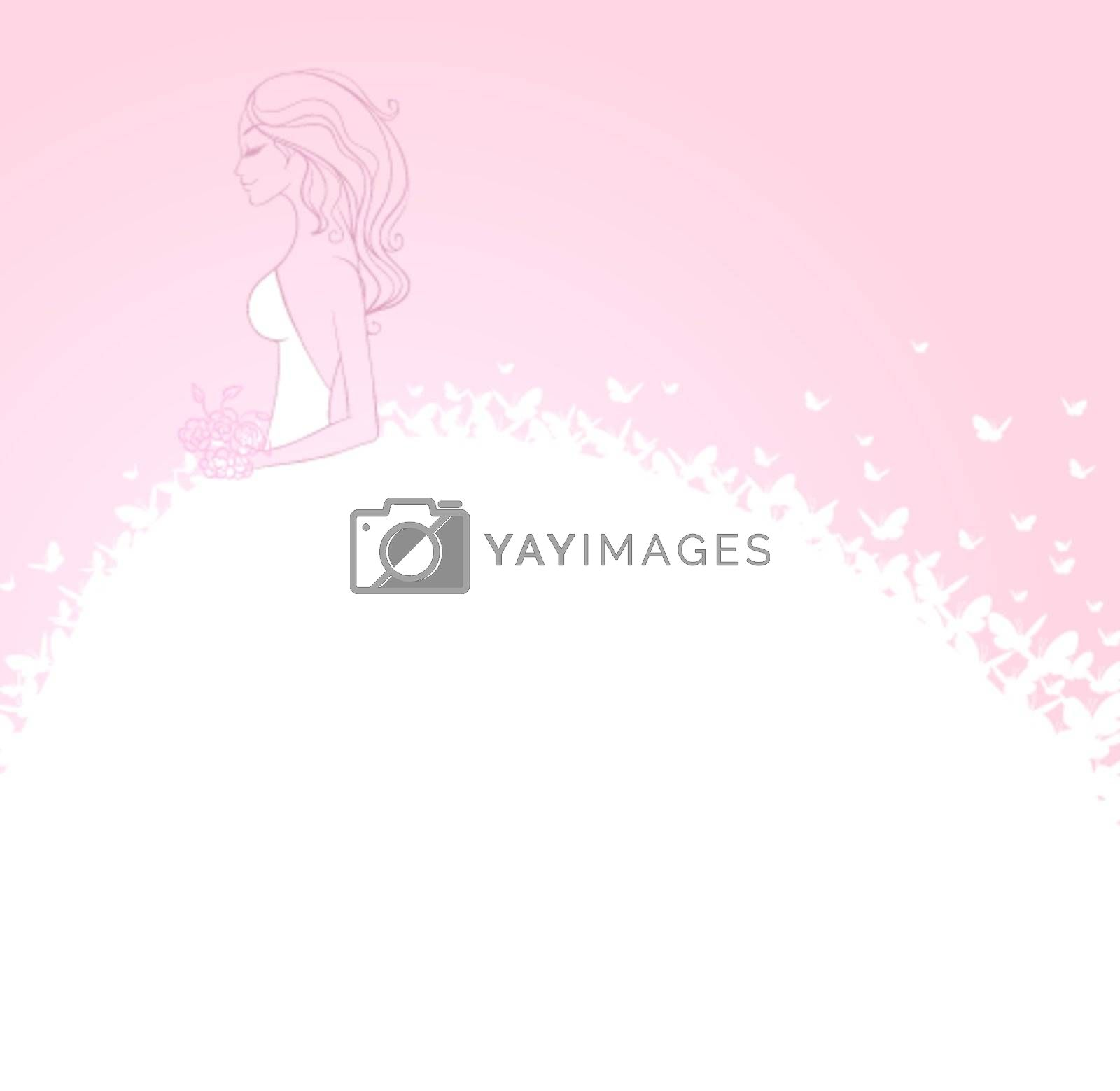 Vector illustration of Bride in white dress