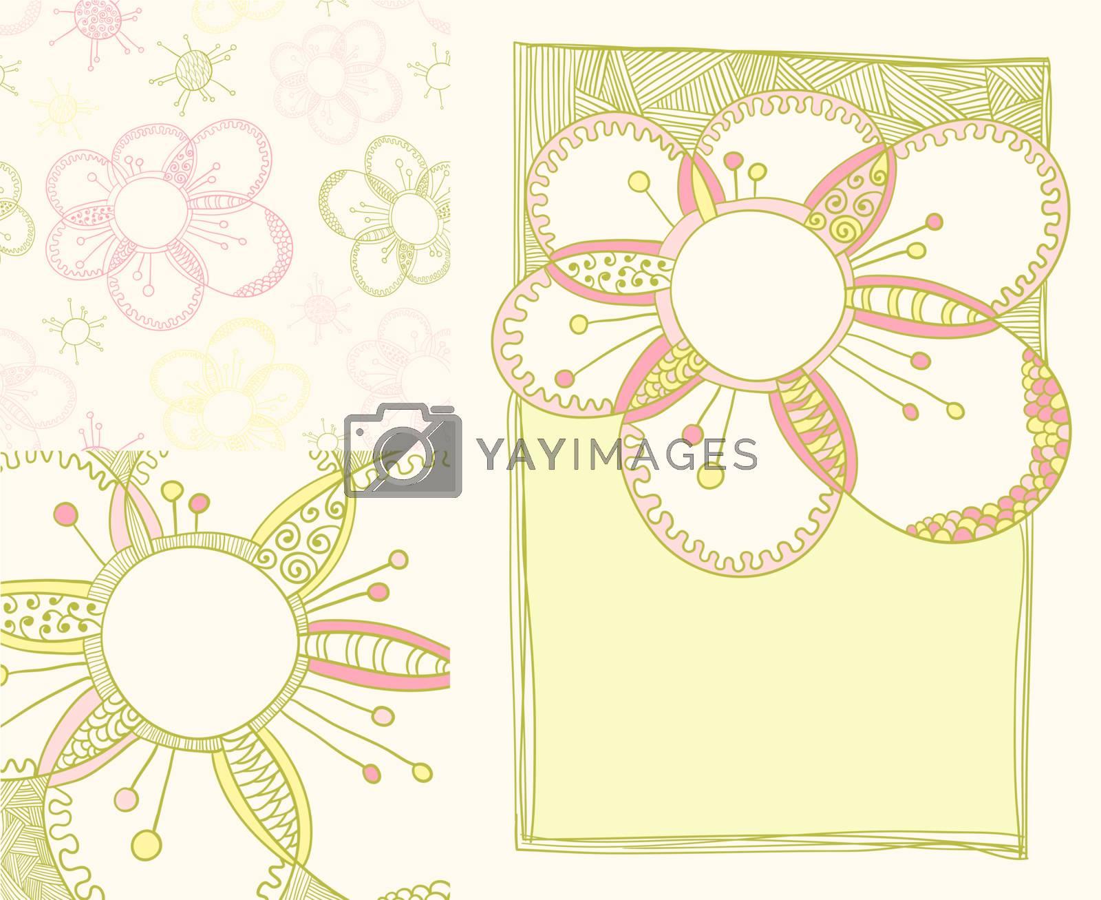 set of spring backgrounds including seamless flower pattern