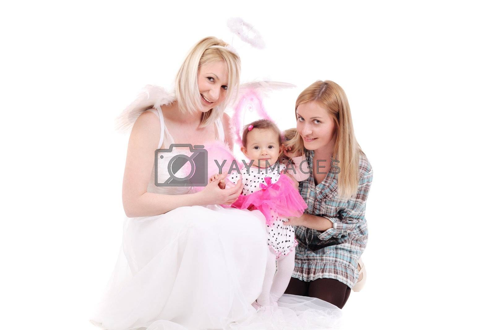 two girls with a baby in a butterfly outfit