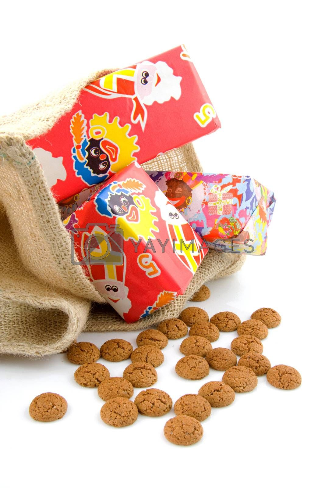Typical Dutch celebration: Sinterklaas with surprises in bag and ginger nuts, ready for the kids in december