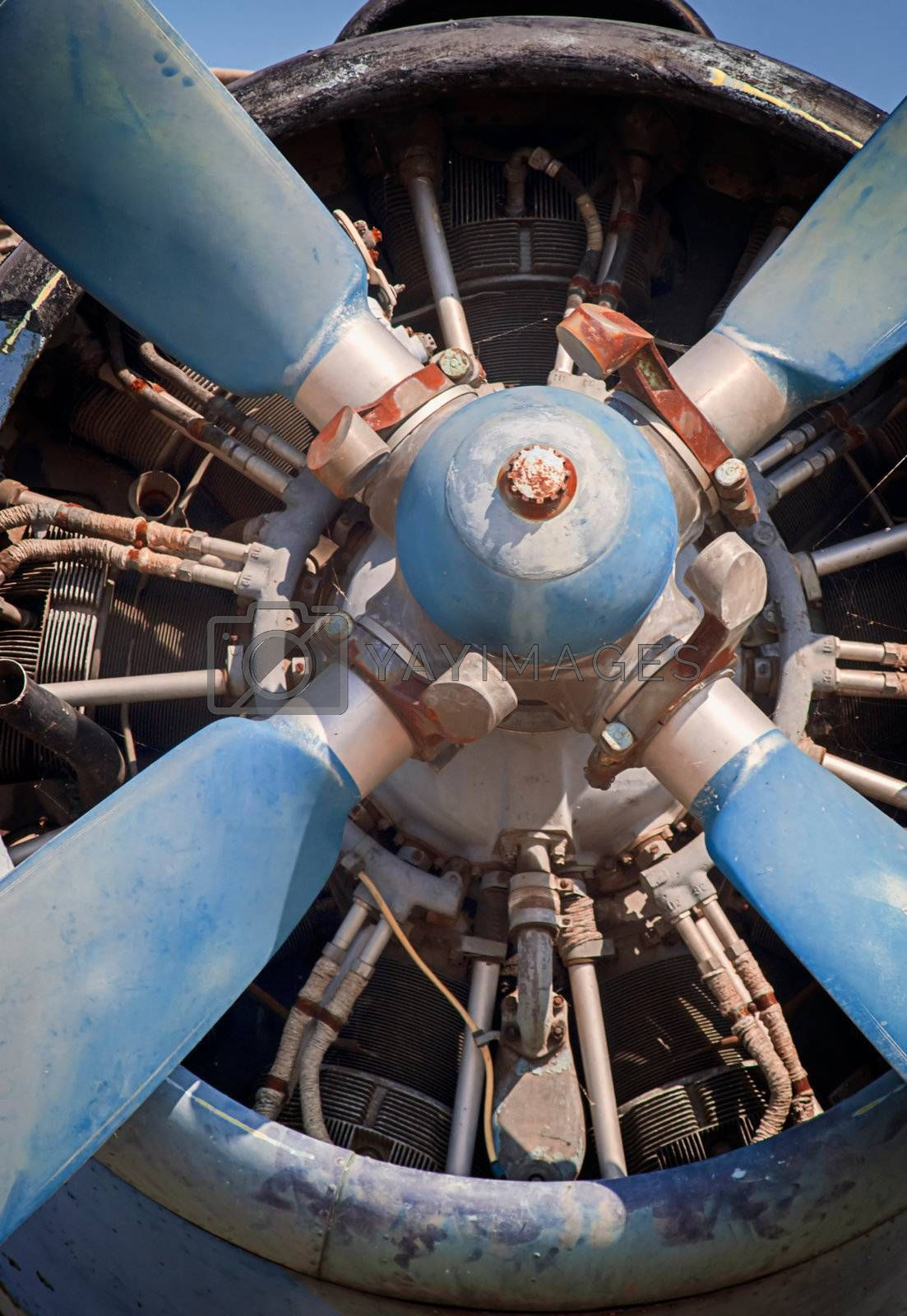 old piston engine and propeller aircraft