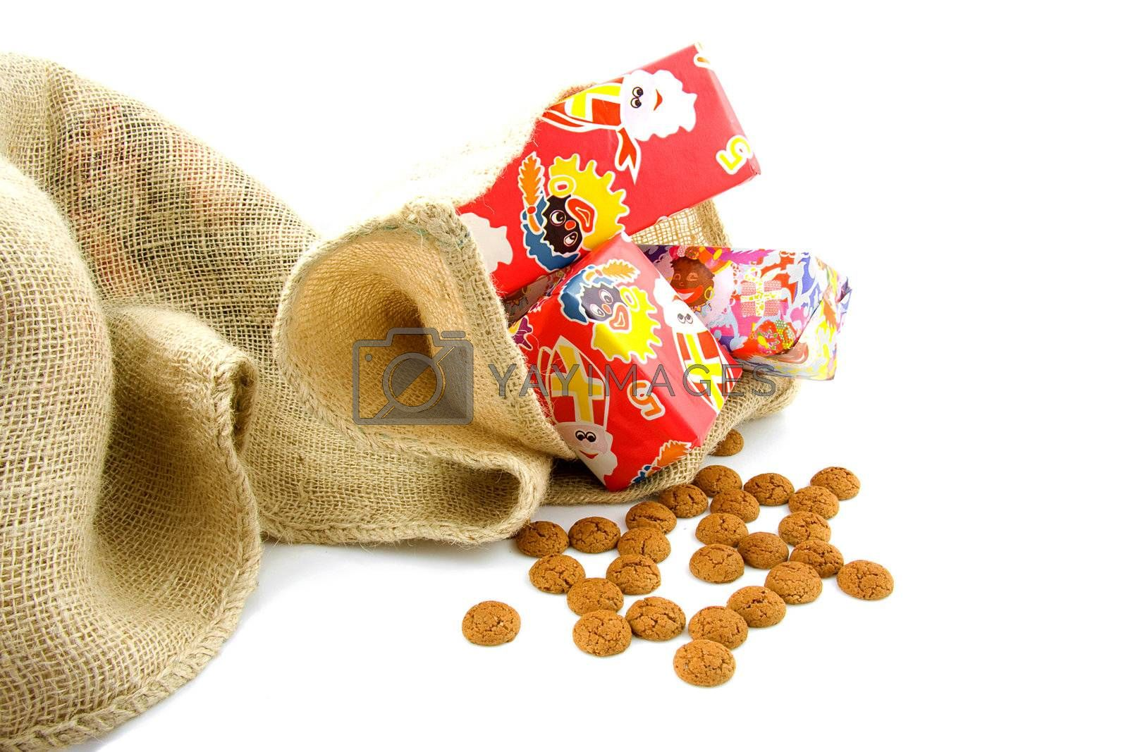Typical Dutch celebration: Sinterklaas with presents in bag and ginger nuts, ready for the kids in december
