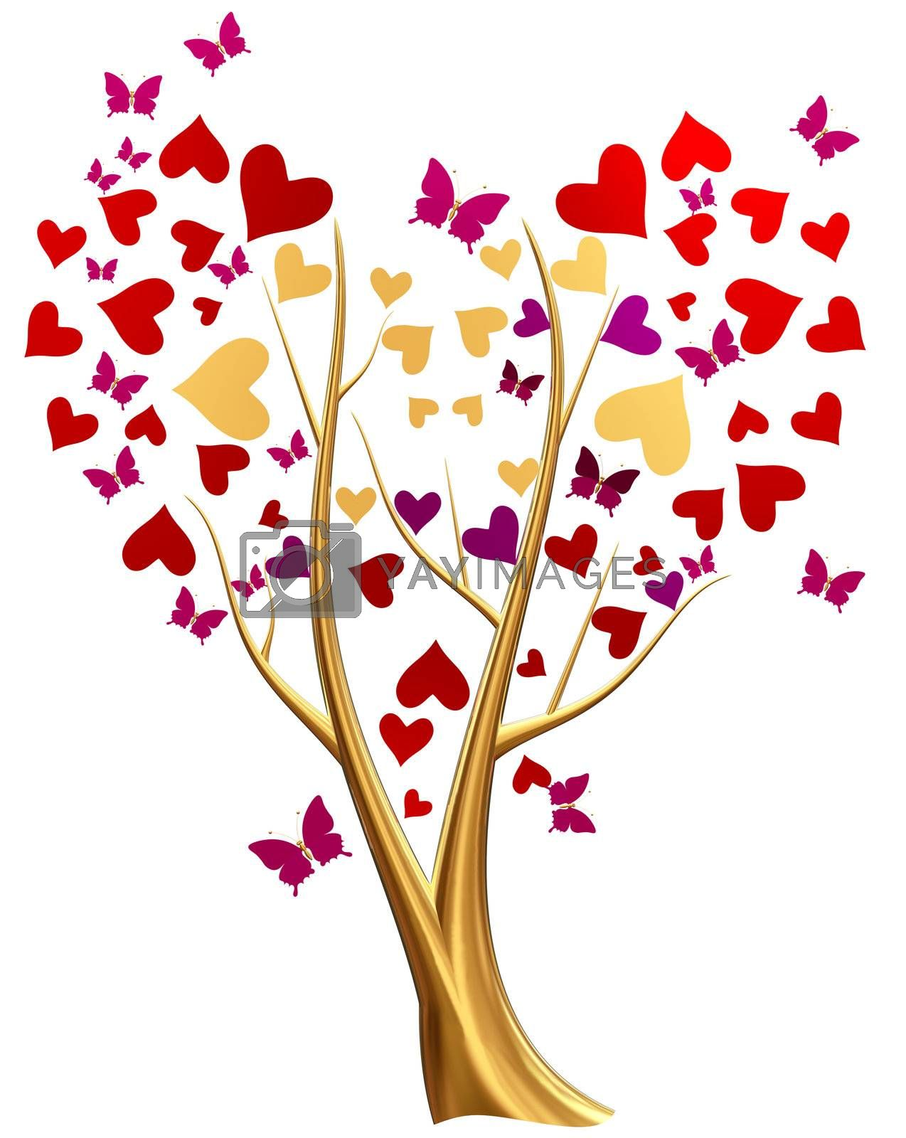 Beautiful golden tree with ruby red and lilac heart-shaped leafs, and flying butterflies around tree