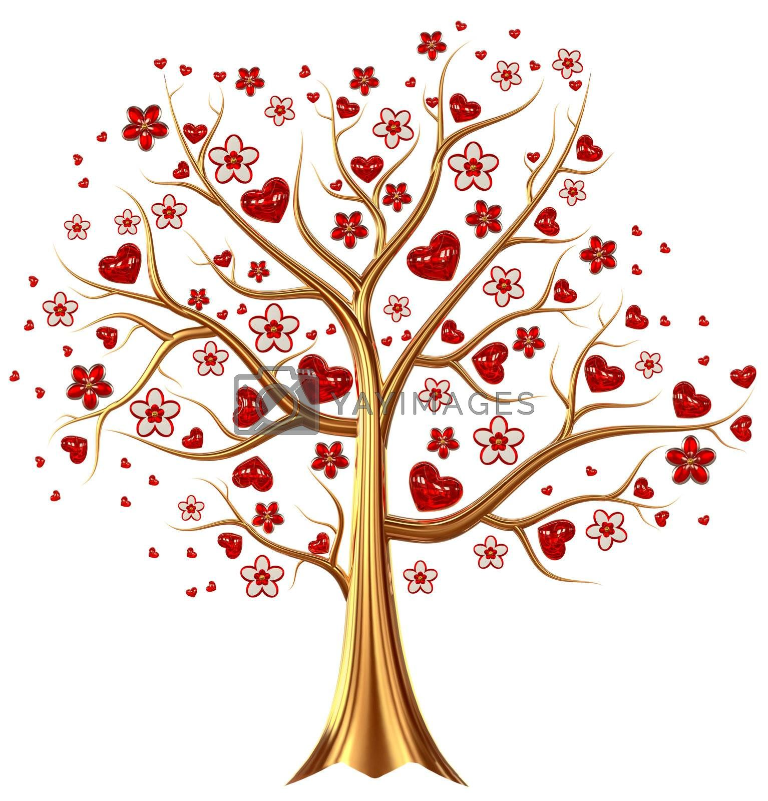 Beautiful golden tree with expensive ruby red heart-shaped leafs, and vermeil flowers as jewelry