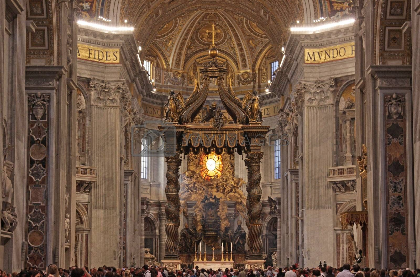 A wide angle shot of the main altar of St. Peter's Basilica, in Rome, Italy.