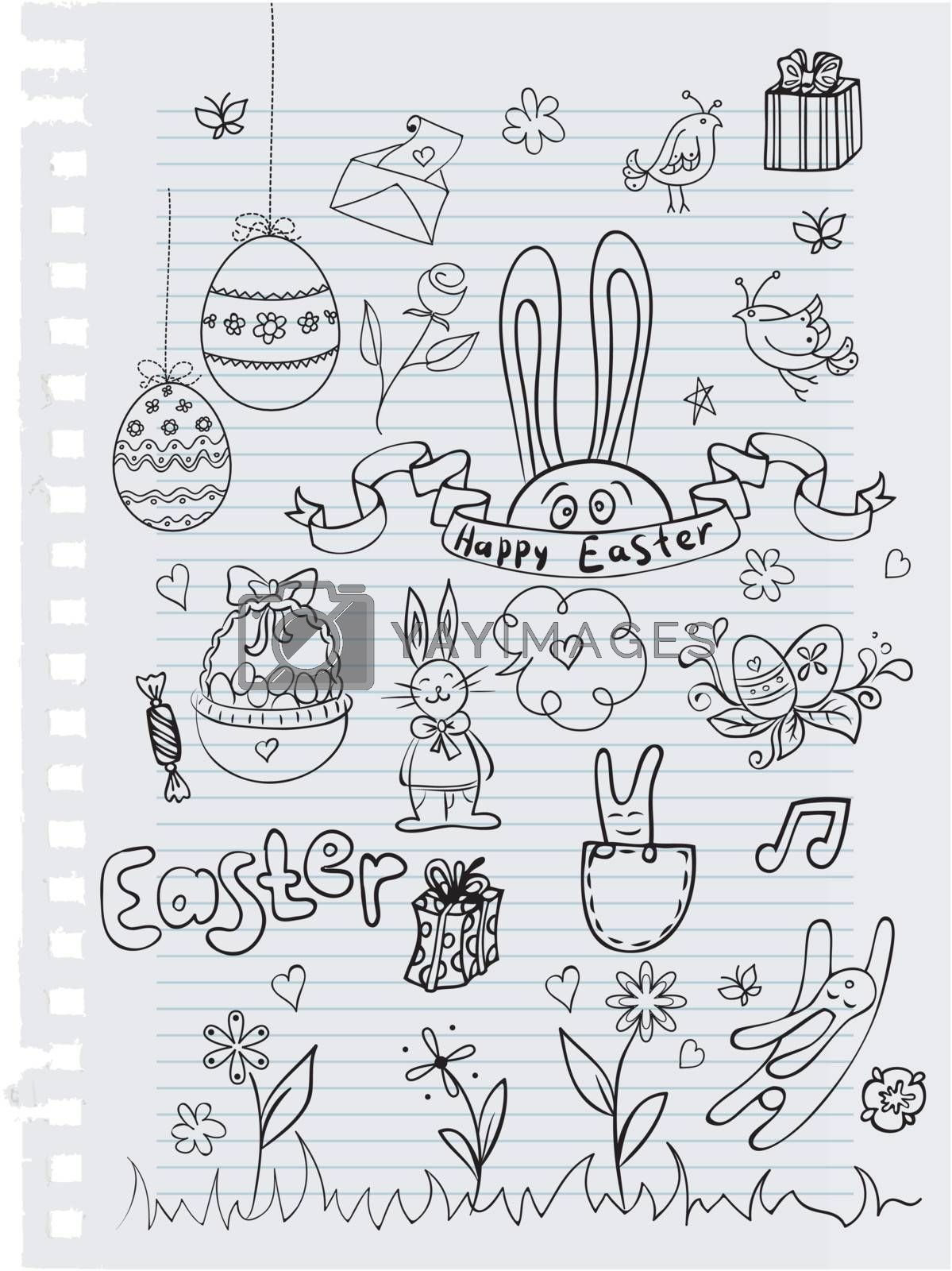 Vector illustration of Easter Doodle