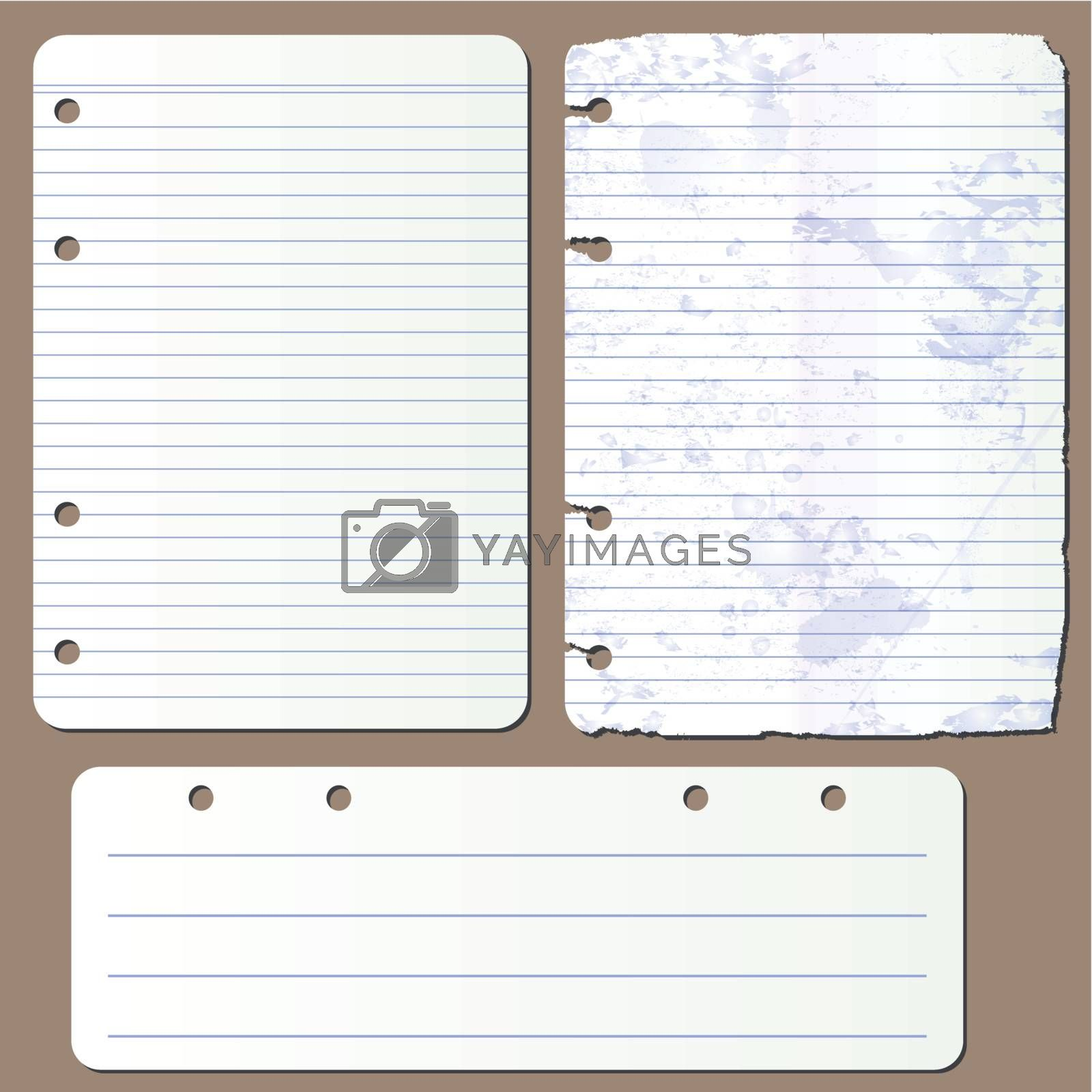 Vector illustration various pages from notepad