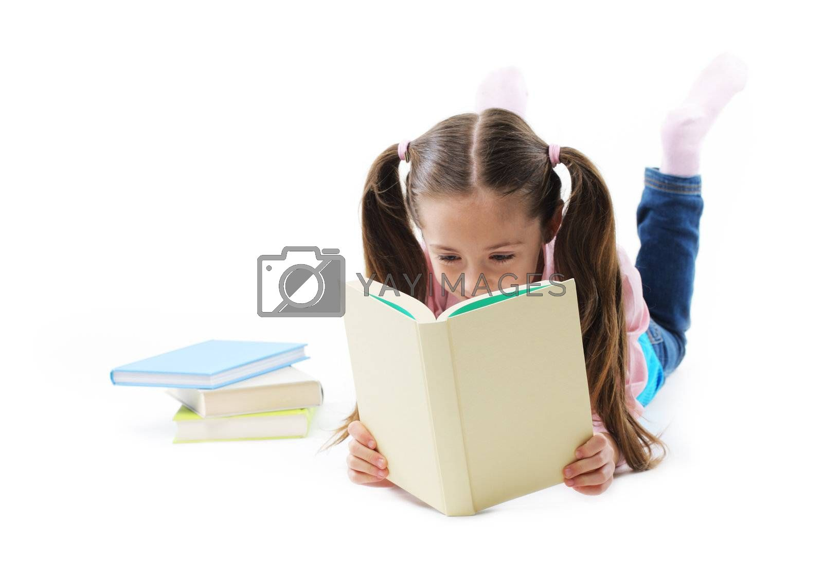 Cute Girl reading a book on white background