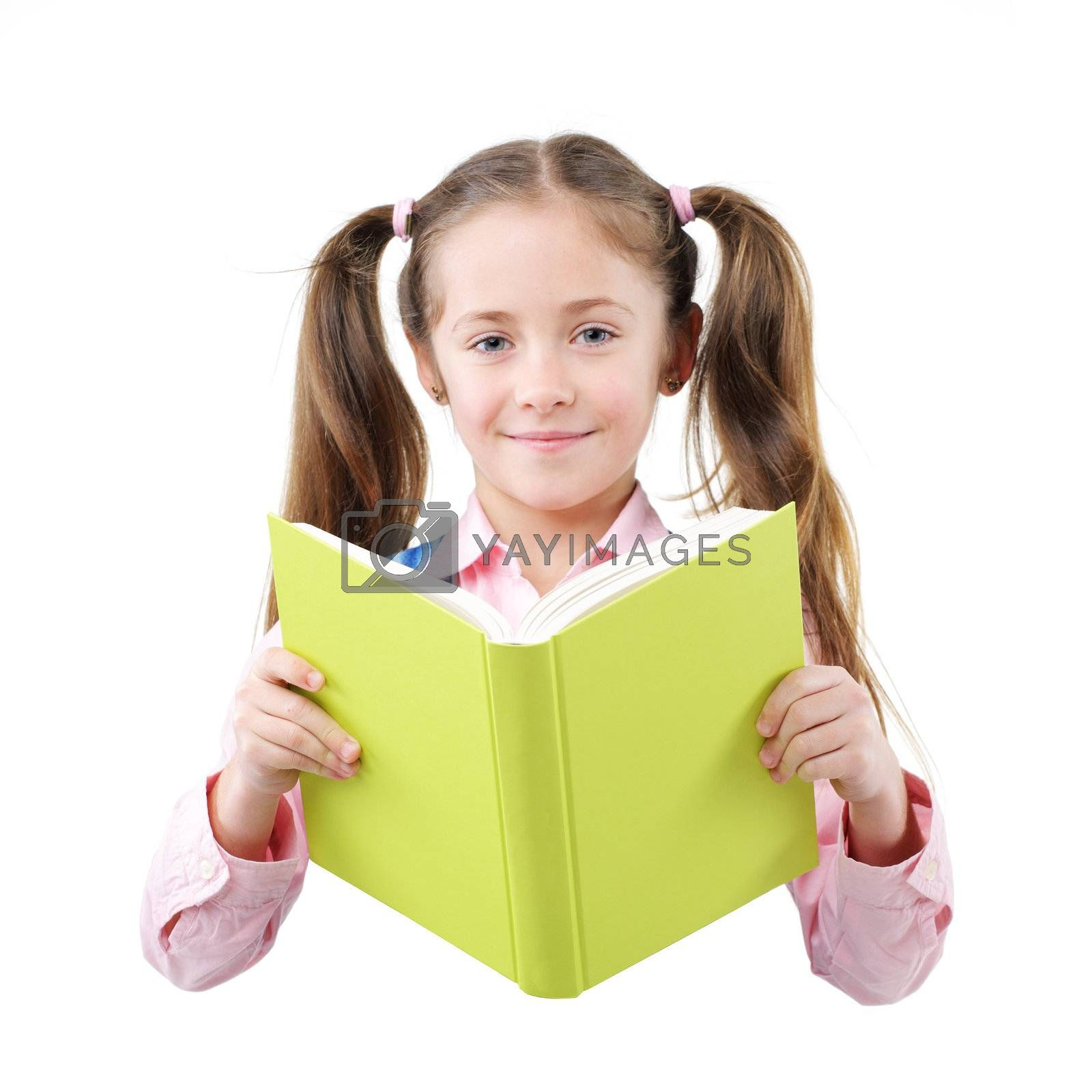 Beautiful little girl student hold textbooks
