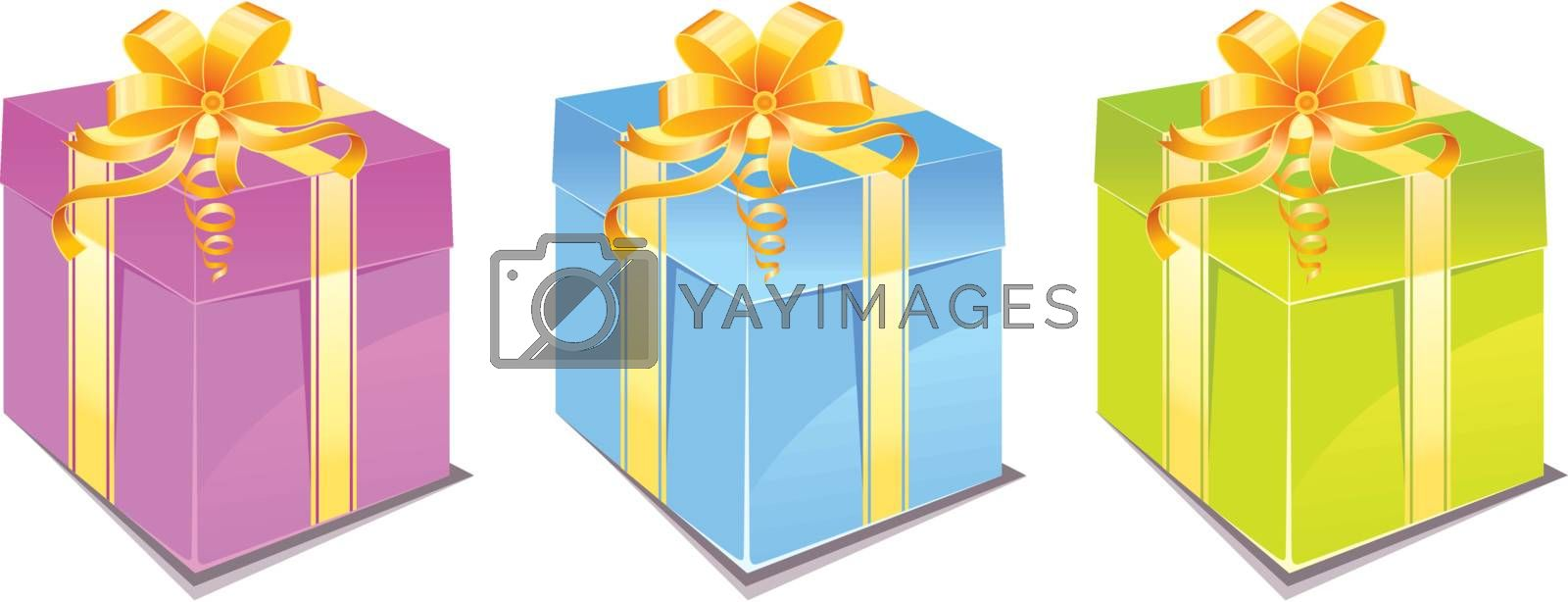 Vector illustration of Gift box set