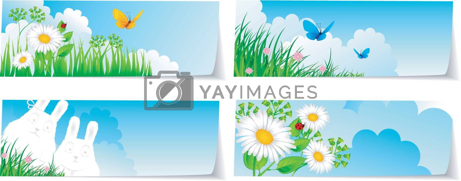 Vector illustration of Stickers set nature
