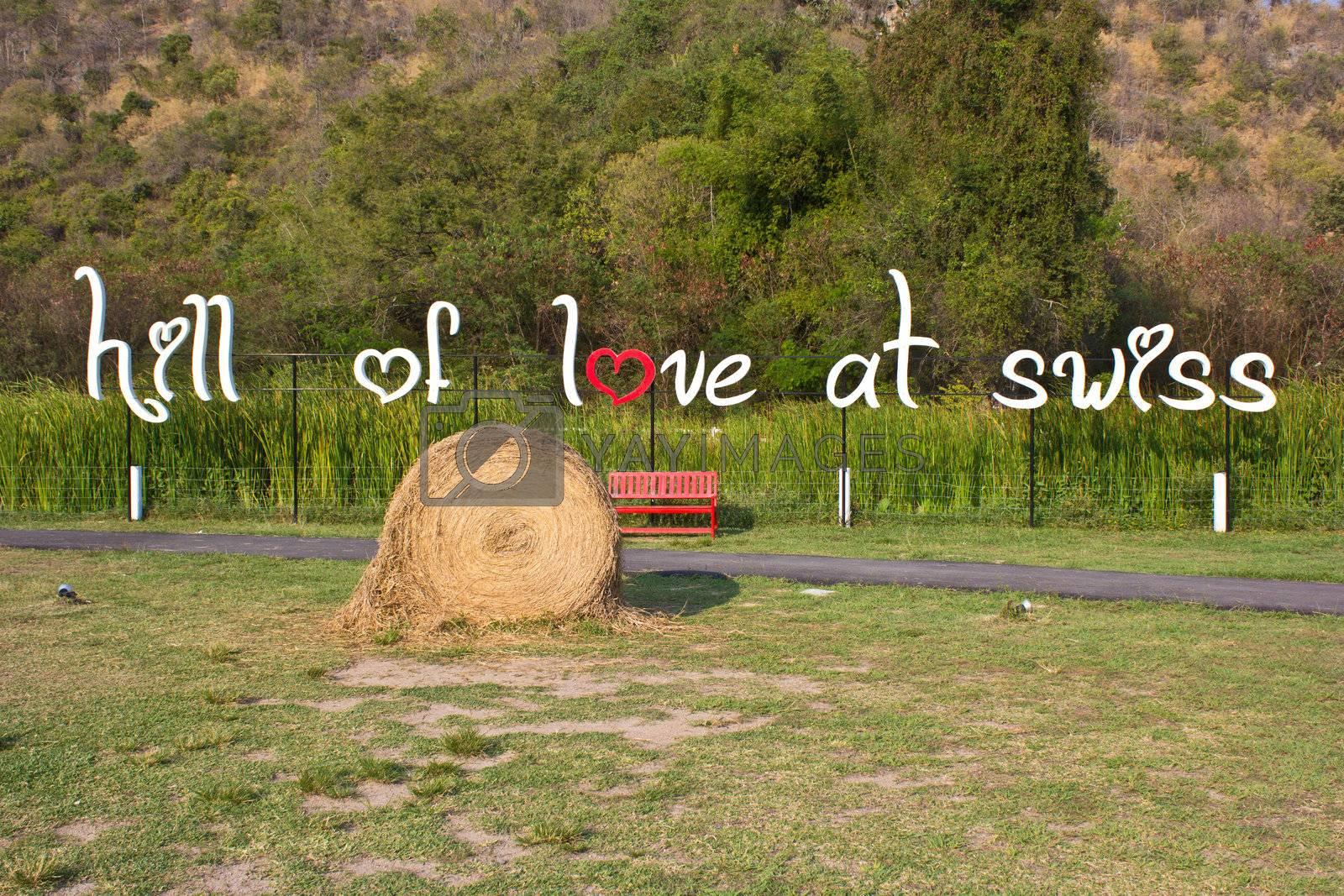 circle straw in the swiss sheep farm