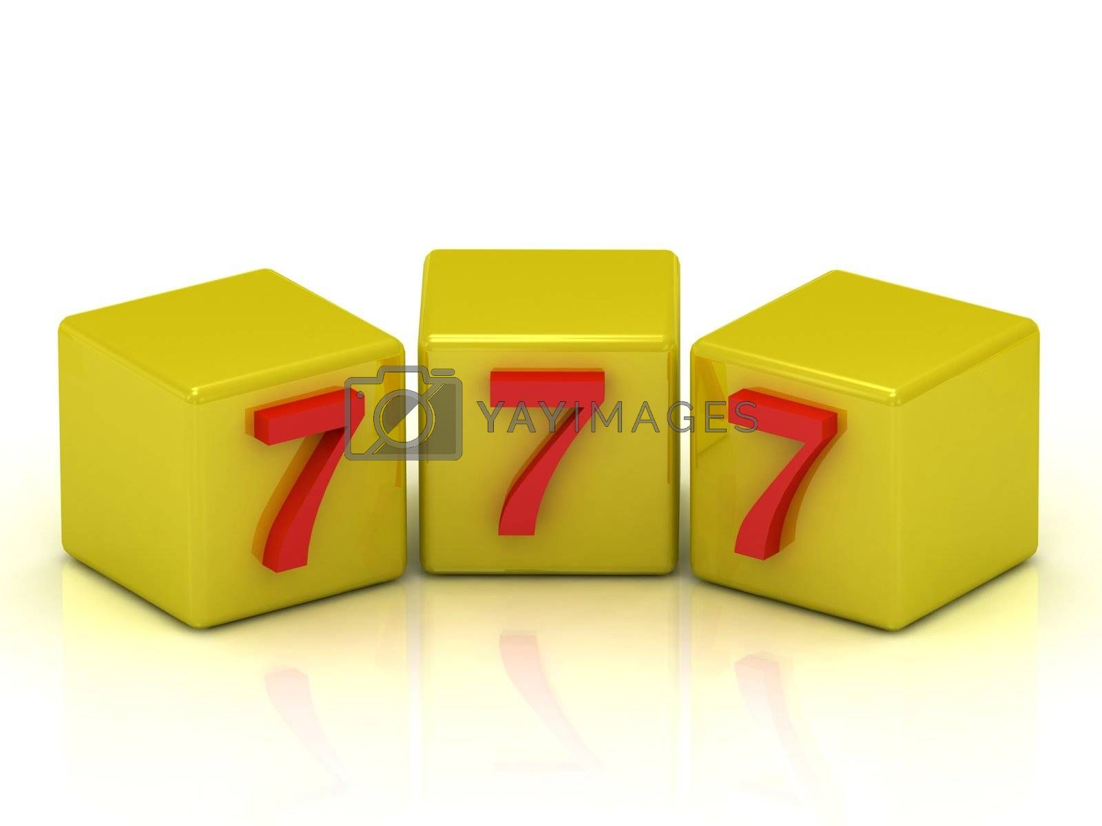 Lucky number seven on the yellow cubes isolated on white background