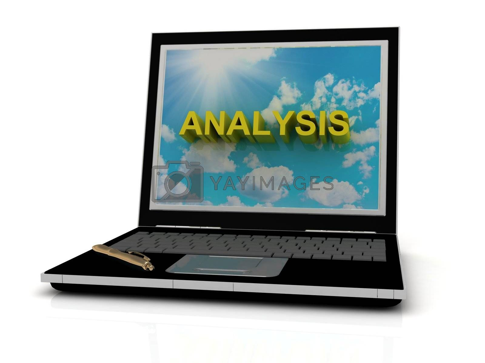 ANALYSIS sign on laptop screen of the yellow letters on a background of sky, sun and clouds