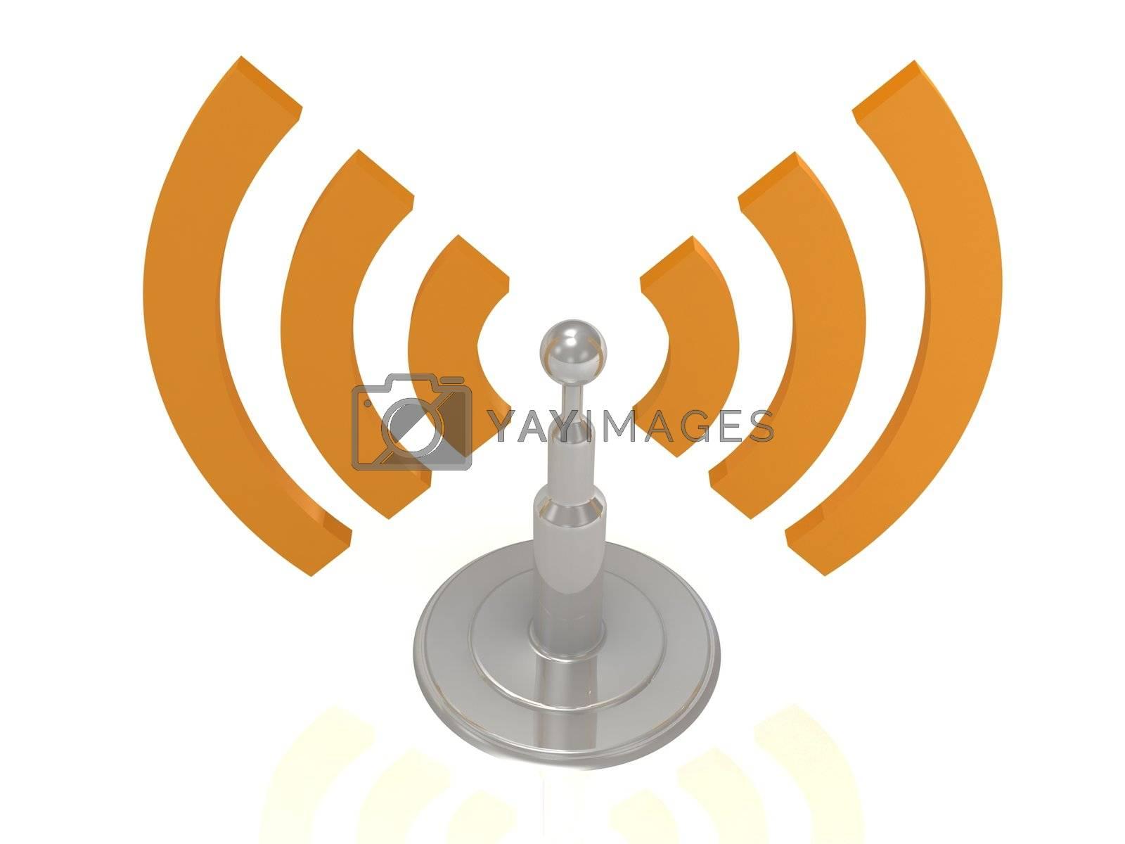 Silver antenna radiation orange waves on white background, 3D render image