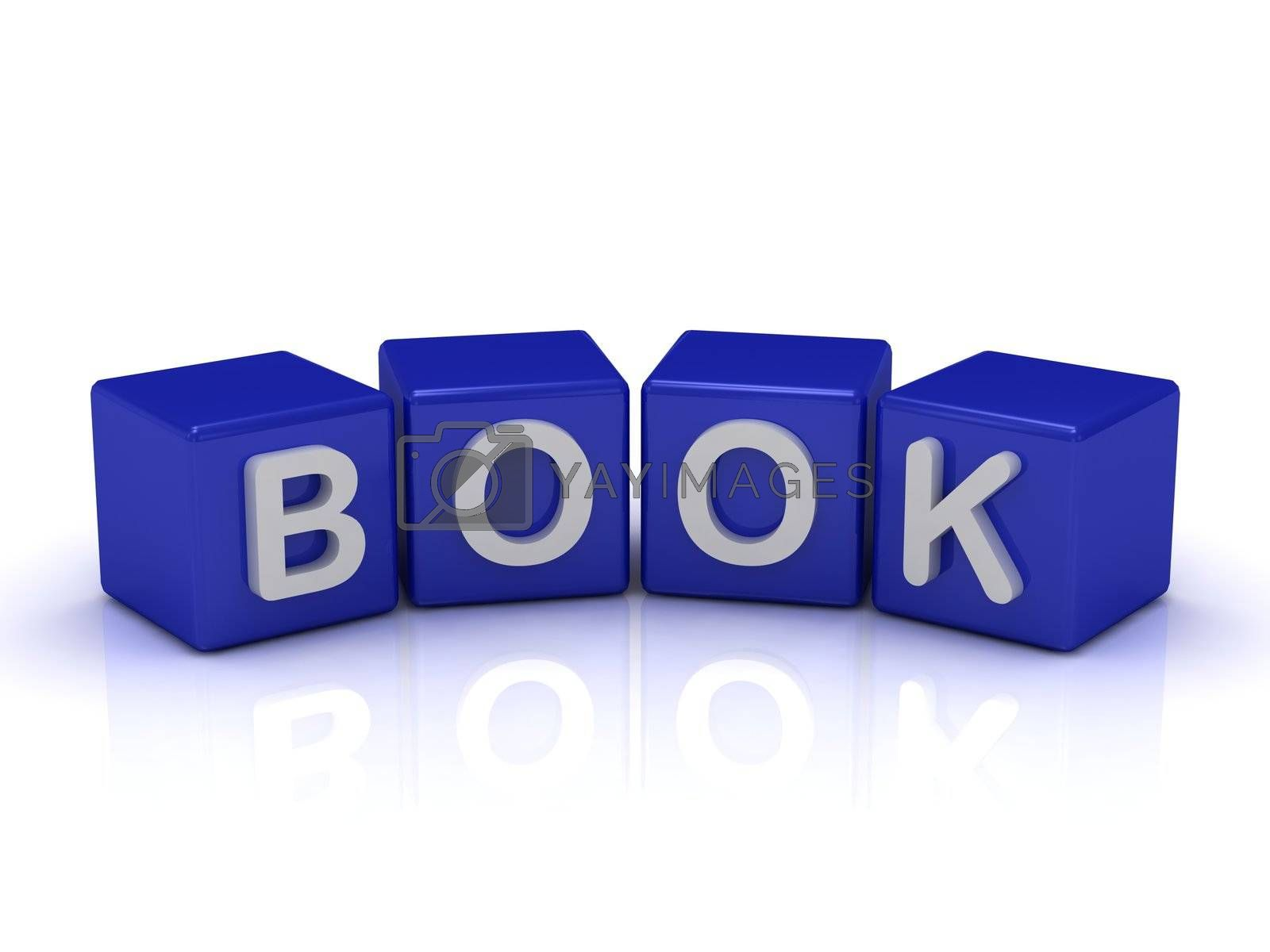 BOOK word on blue cubes on an isolated white background