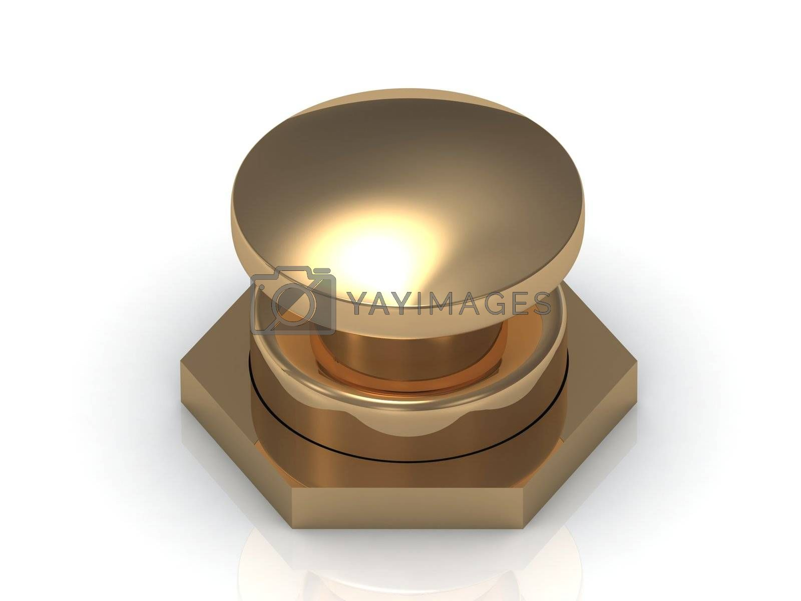 Gold button Isolated on a white background, 3D image