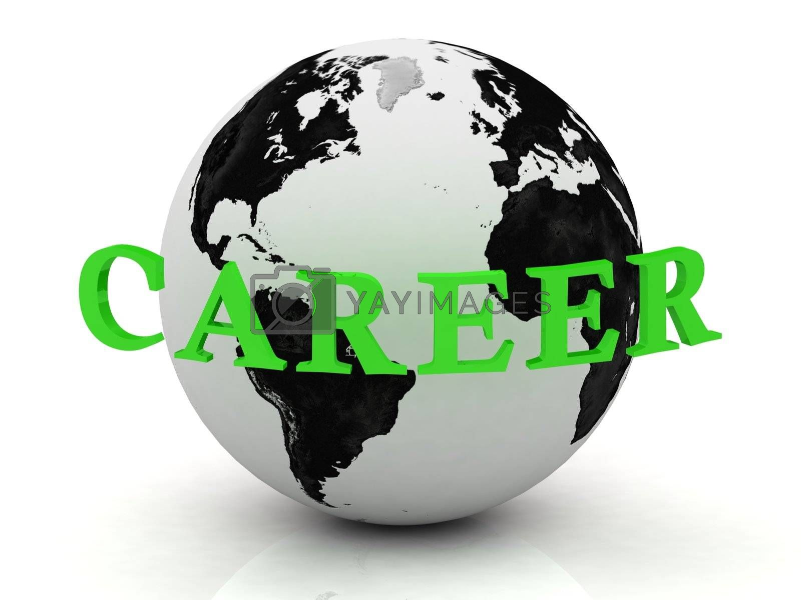 CAREER abstraction inscription around earth on a white background