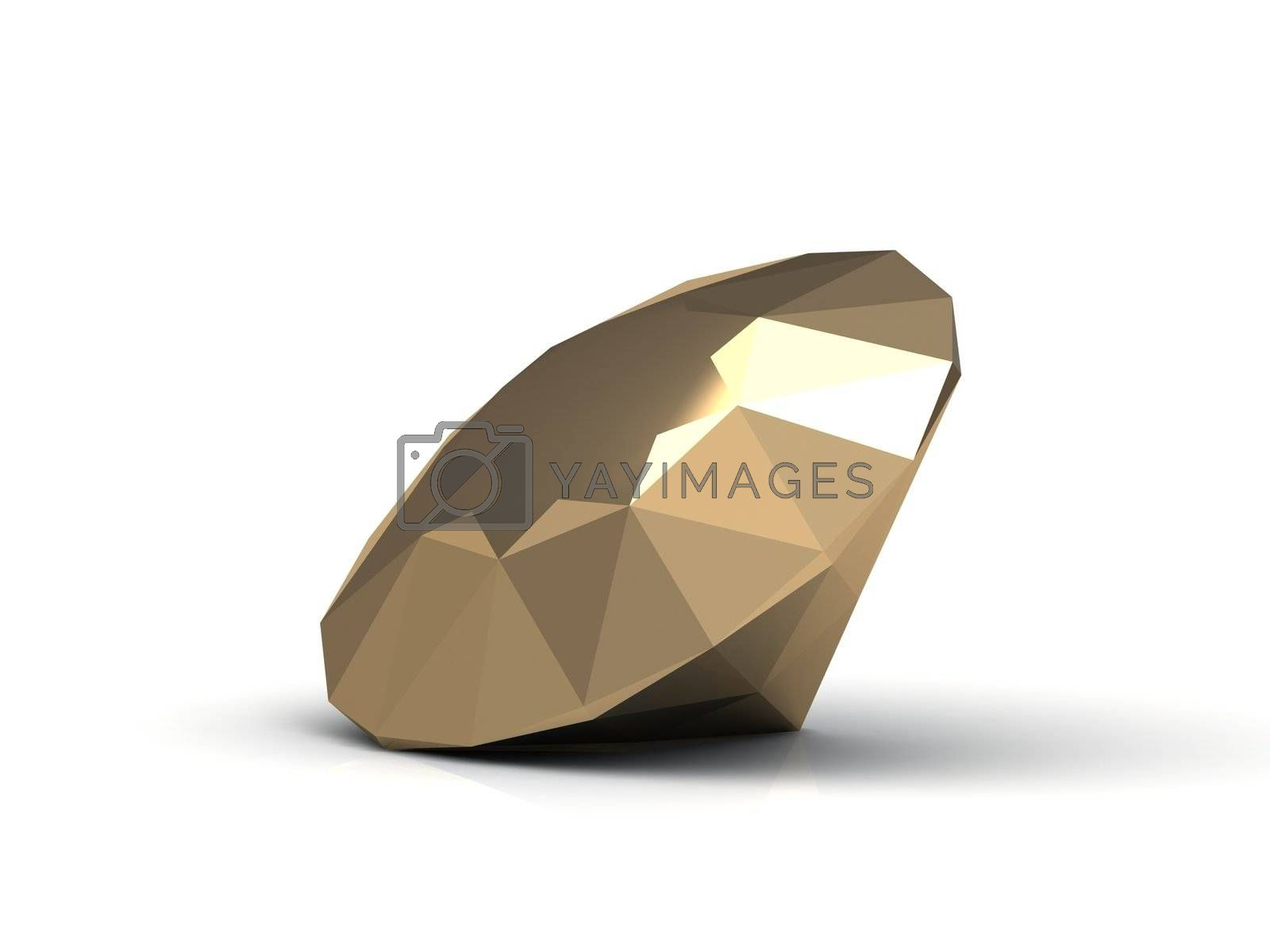 Gold diamond made in form of the diamond. 3D image Isolated on a white background
