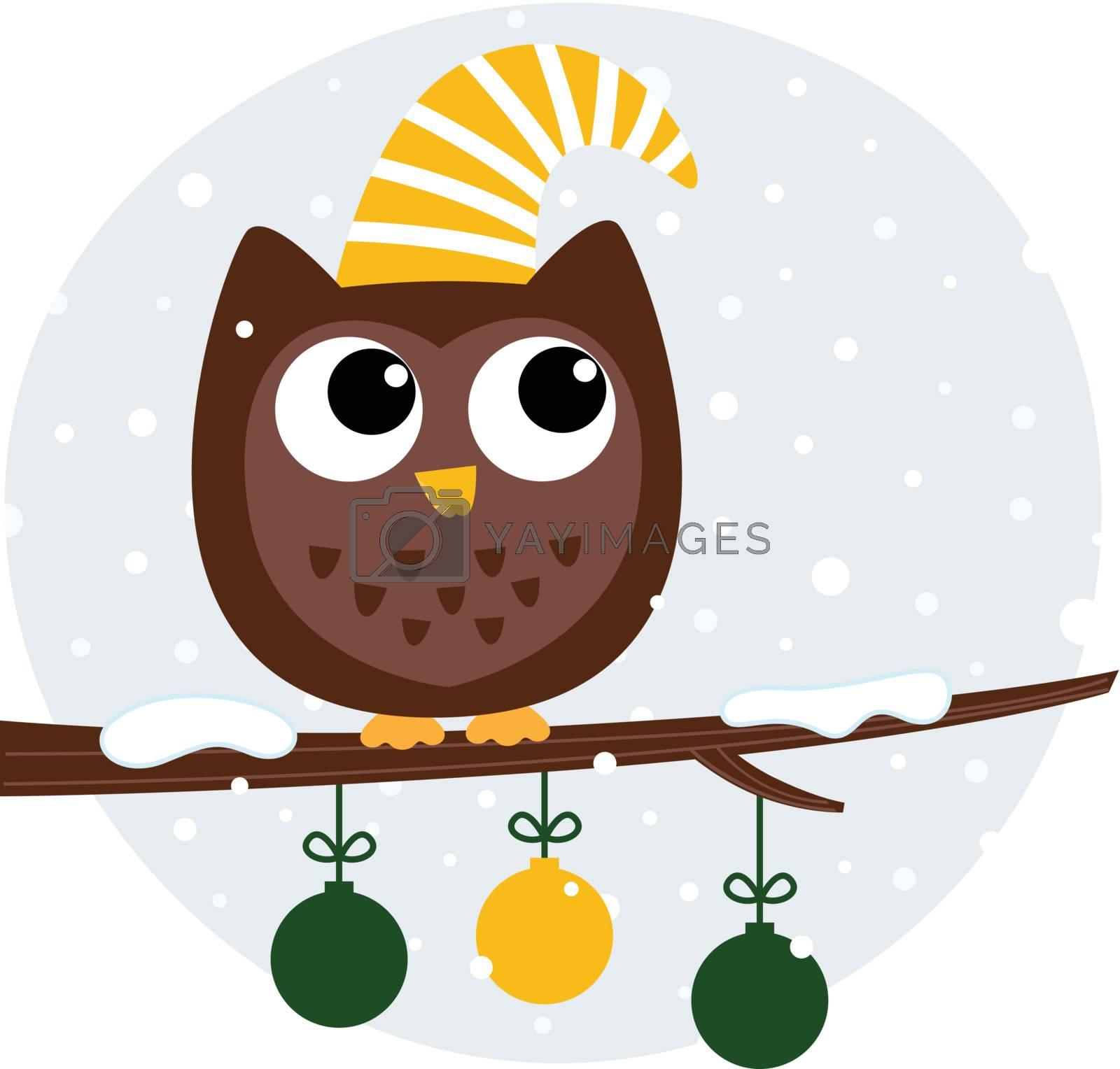 Christmas stylized cartoon Owl. Vector Illustration