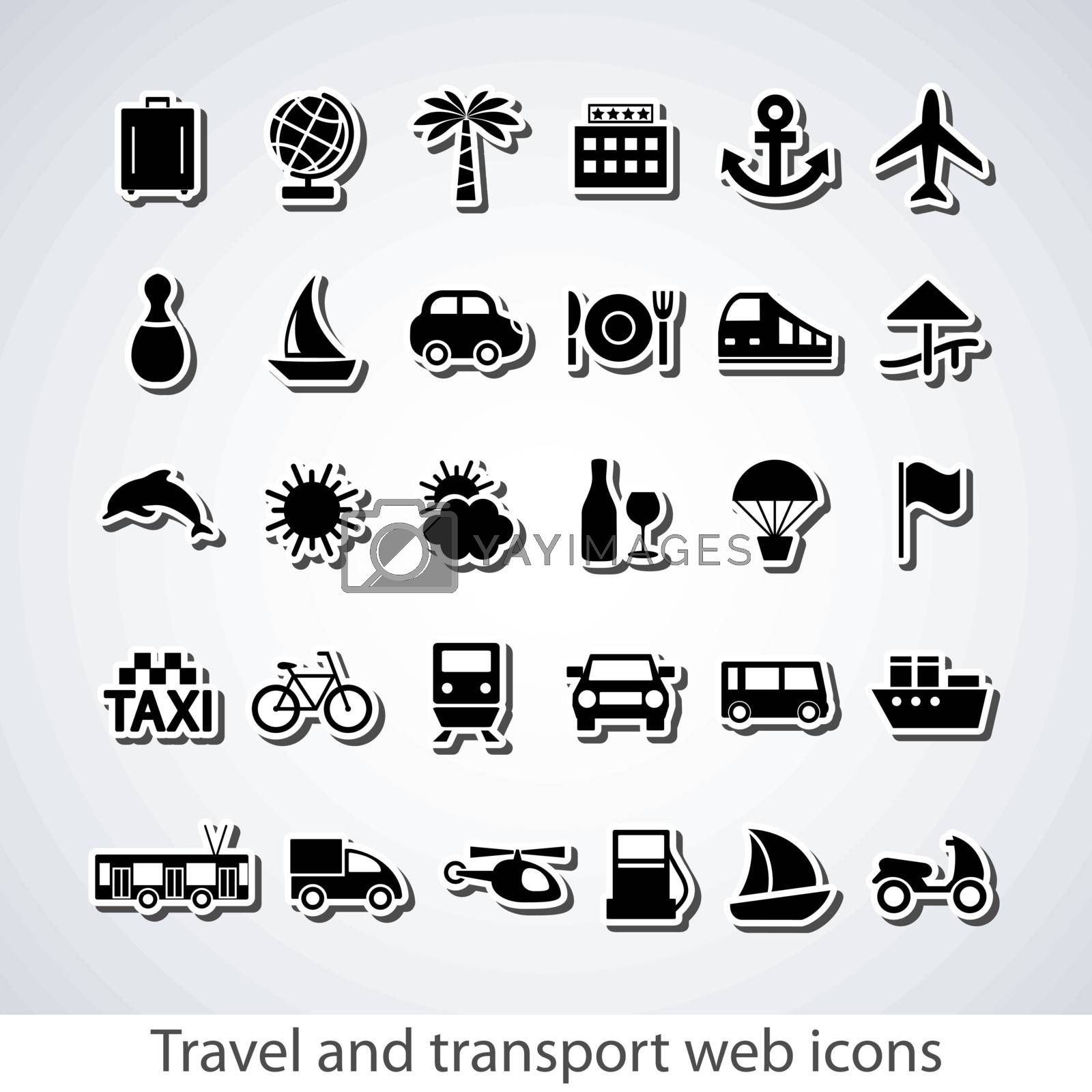 Travel and transport buttons set.