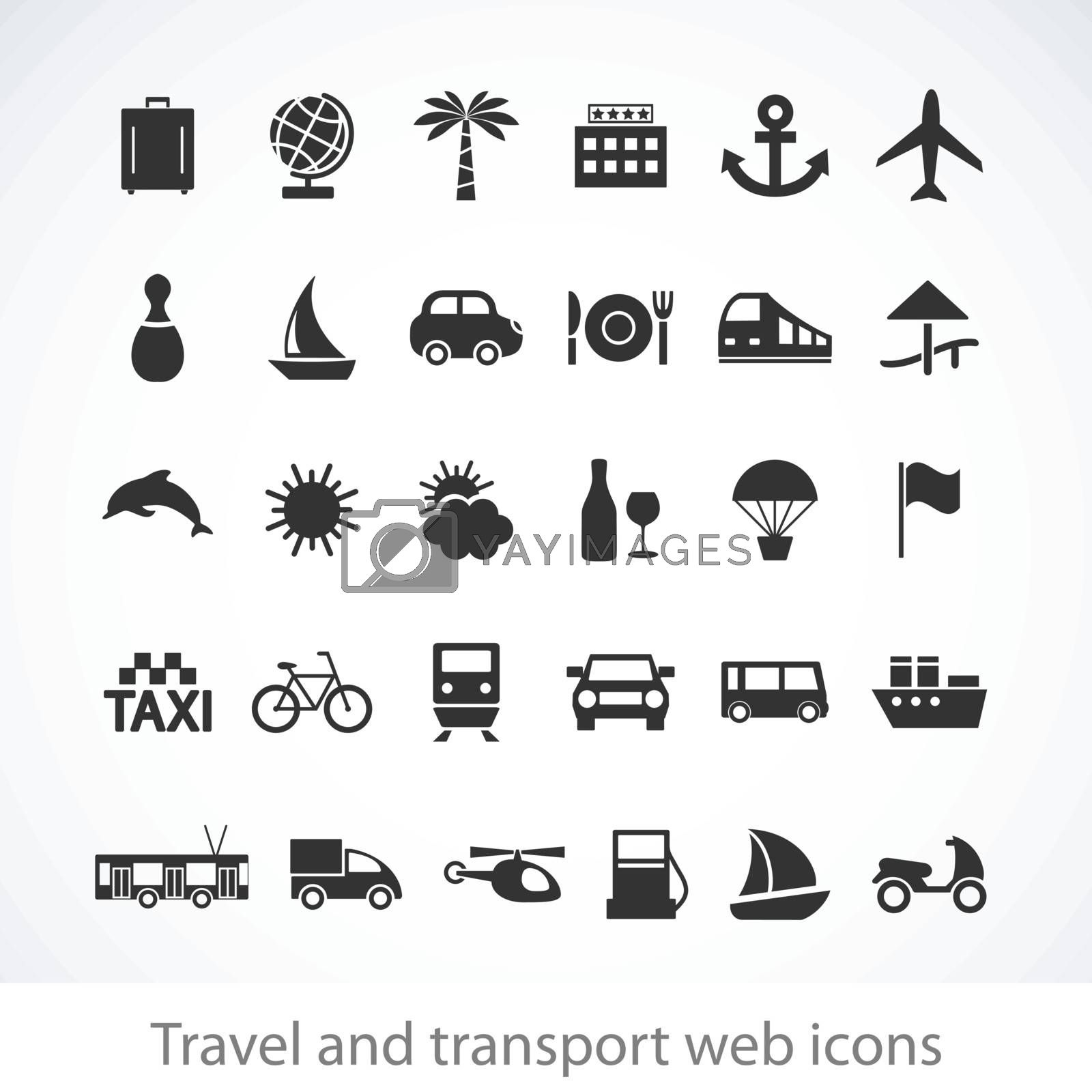 Travel and transport buttons set. Vector illustration.