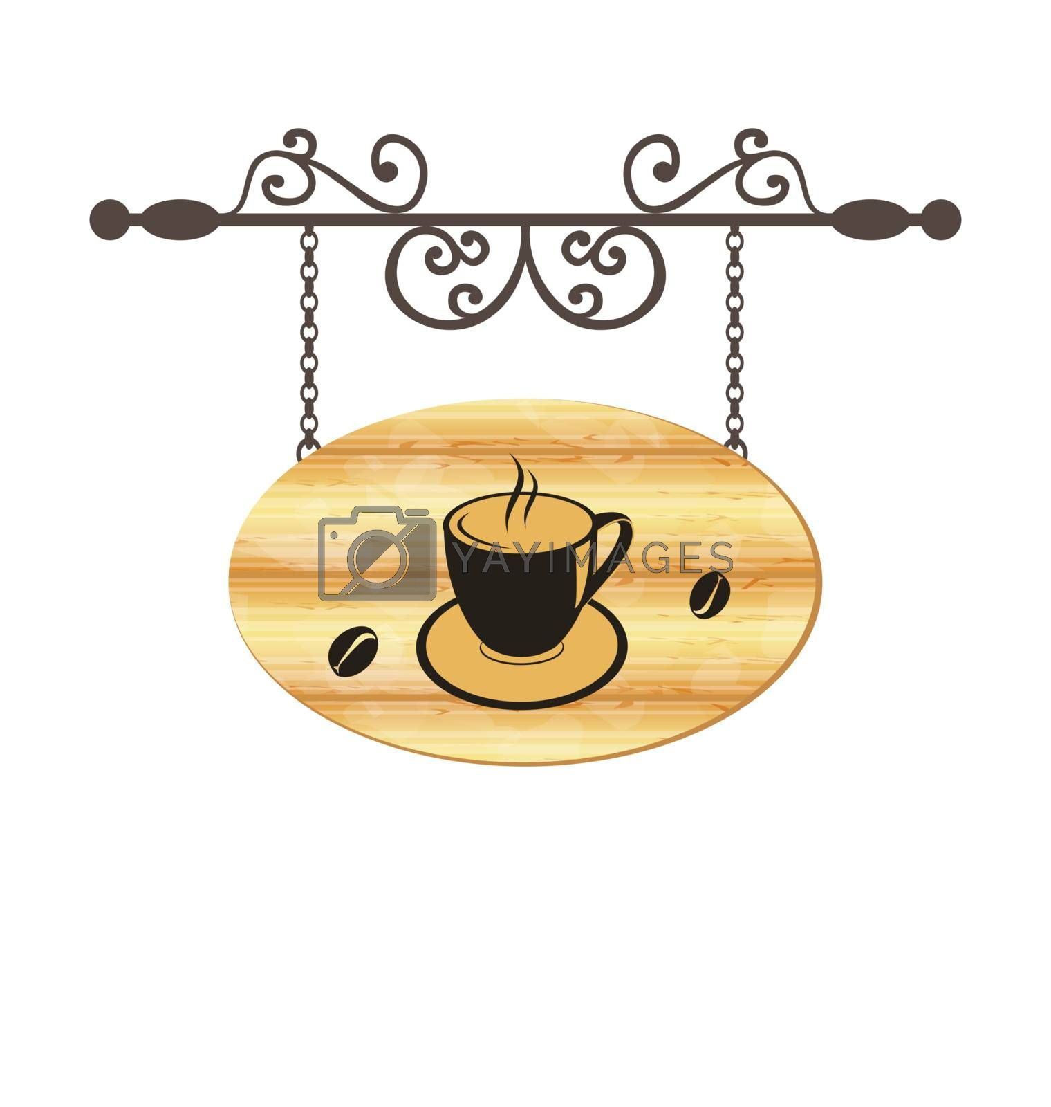 Illustration wooden forging sign with coffee cup - vector