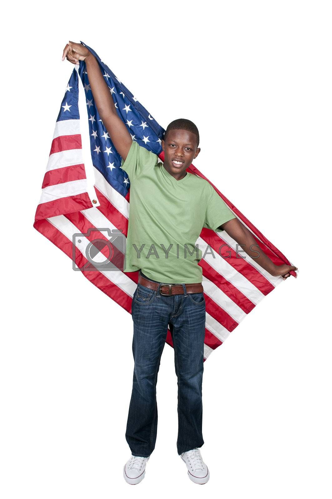Handsome young teenaged black with the American flag