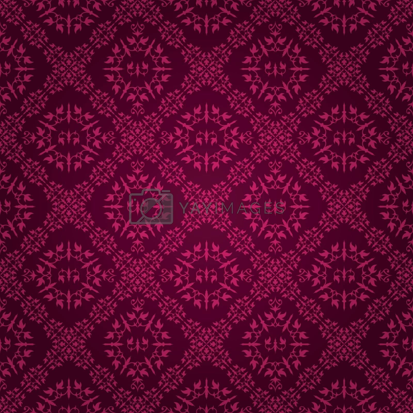 Beautiful dark purple vintage tile wallpaper design with floral elements, eps8 vector