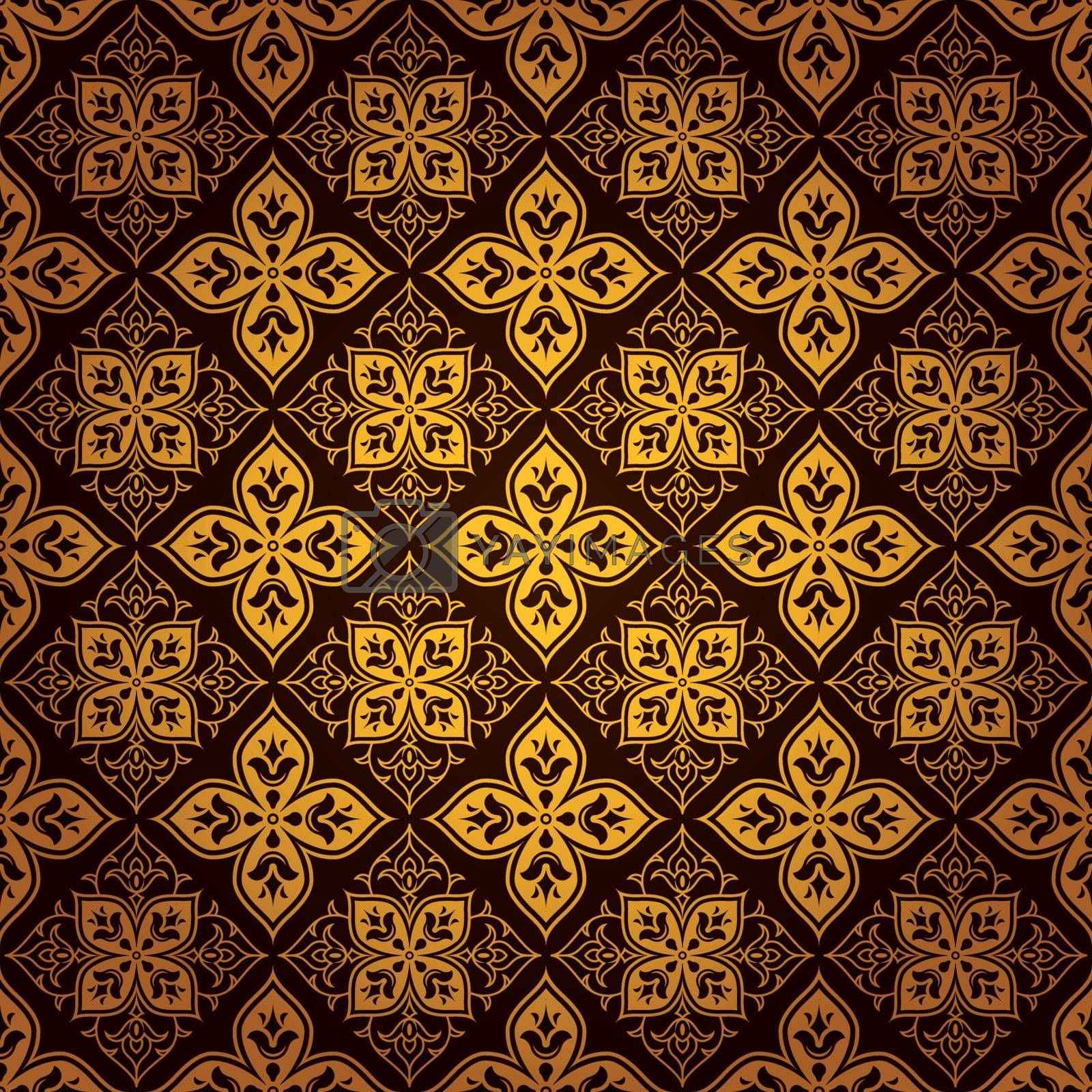 Decorative ornate gold tile pattern background by adrian_n
